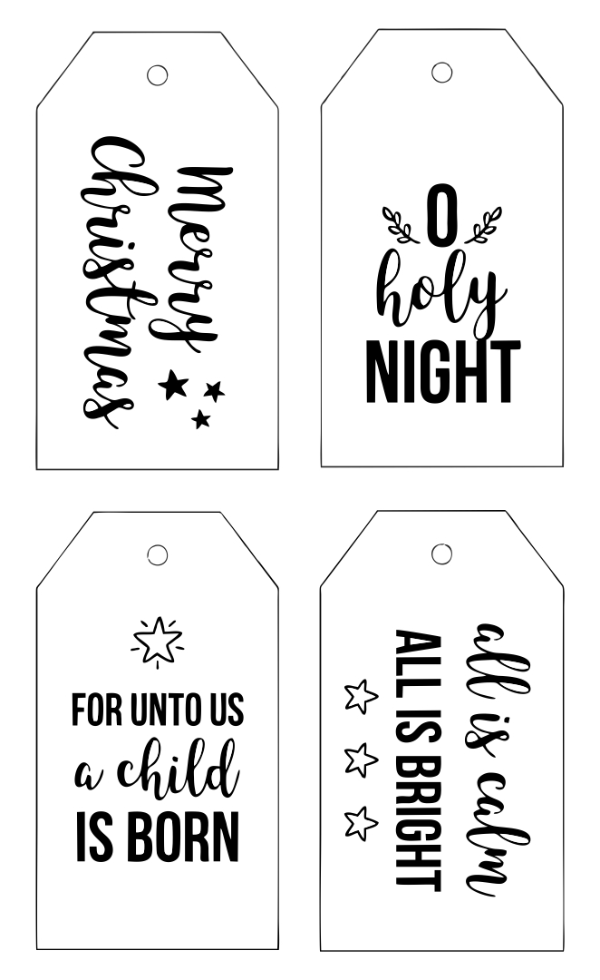 Printable Christmas Tags Black And White