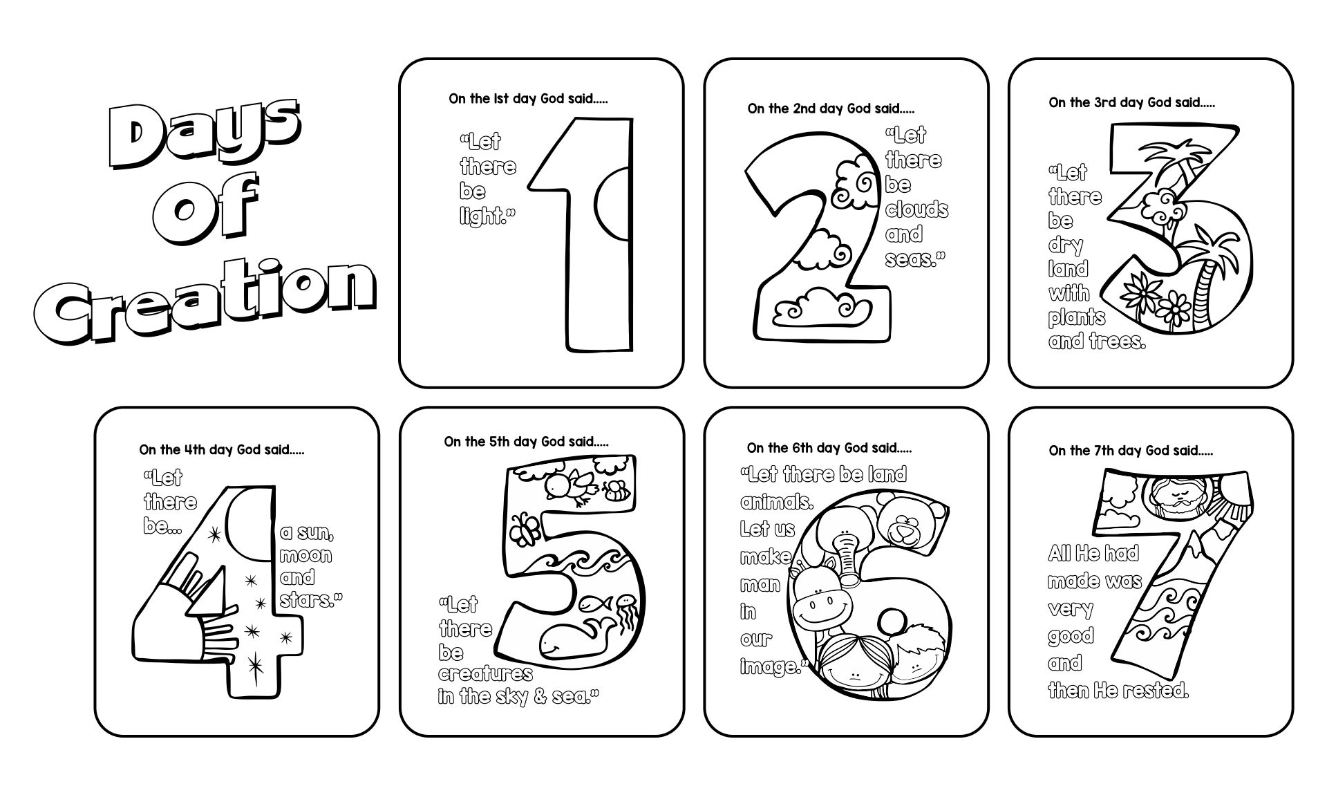 Printable Creation Activity Pages