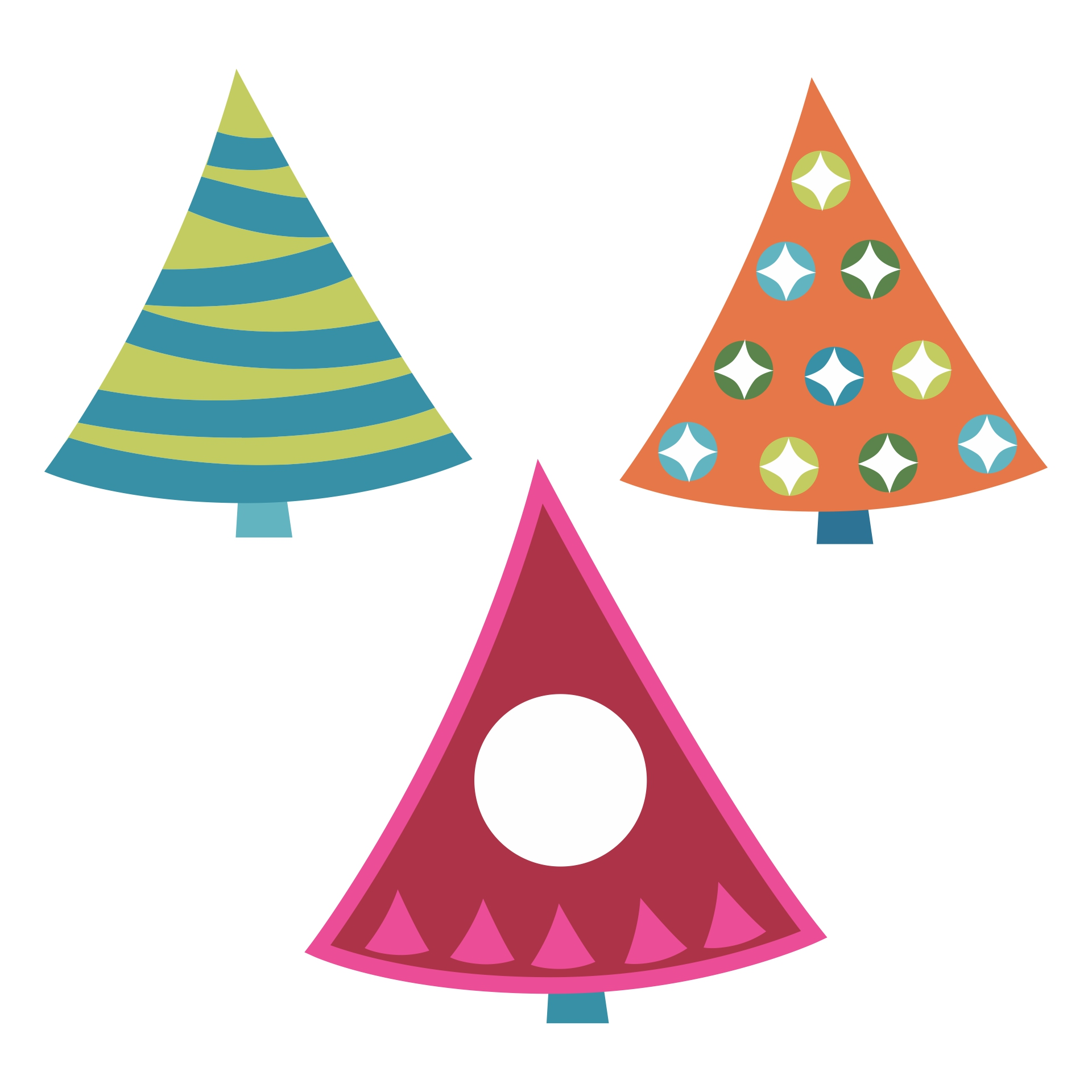 Printable 3D Paper Christmas Trees