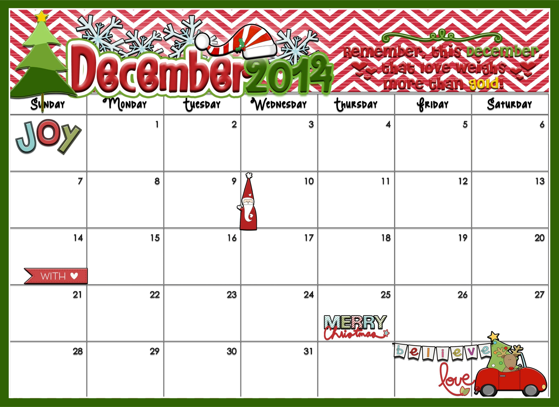 Printable Christmas Countdown Template
