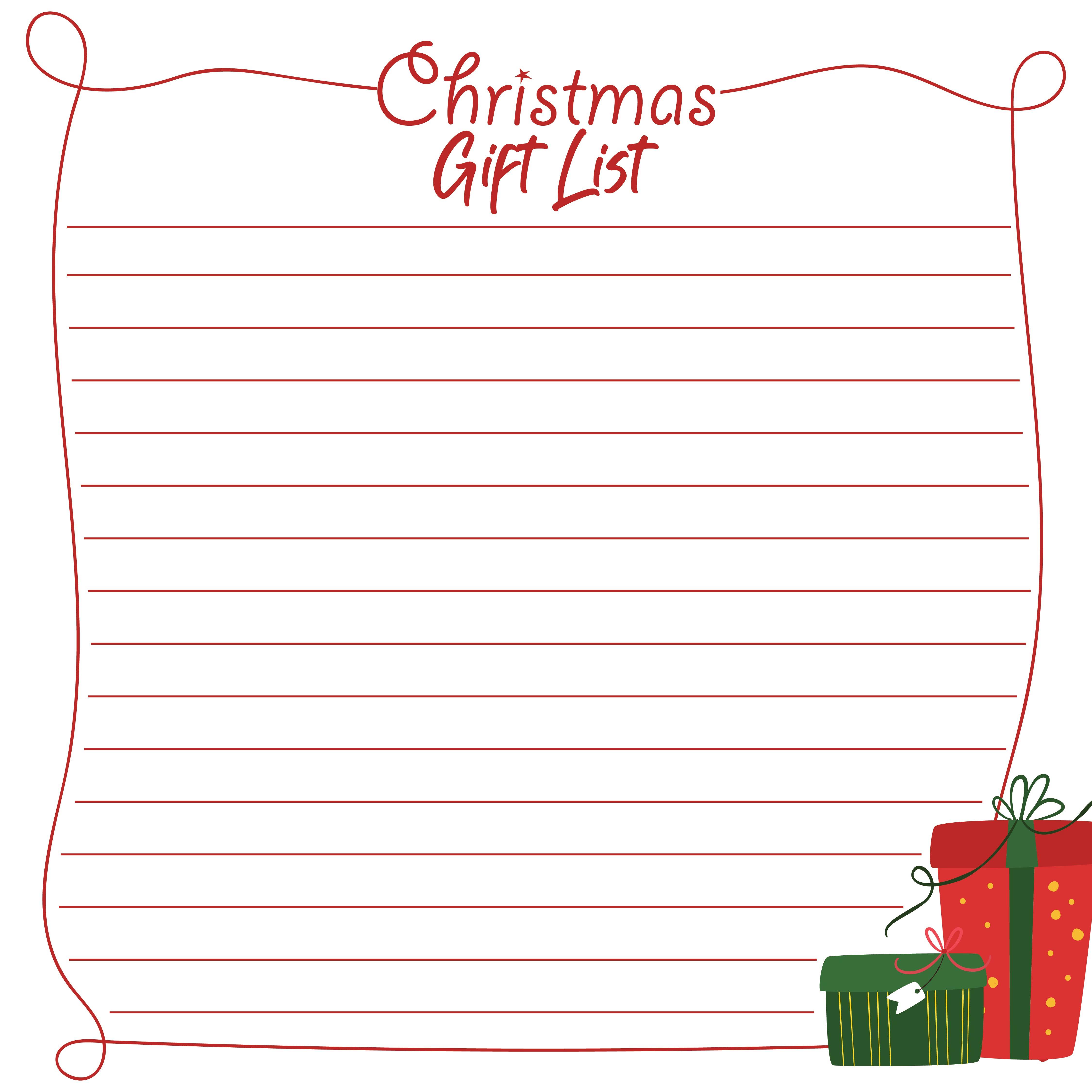 Printable Christmas Wish List Form