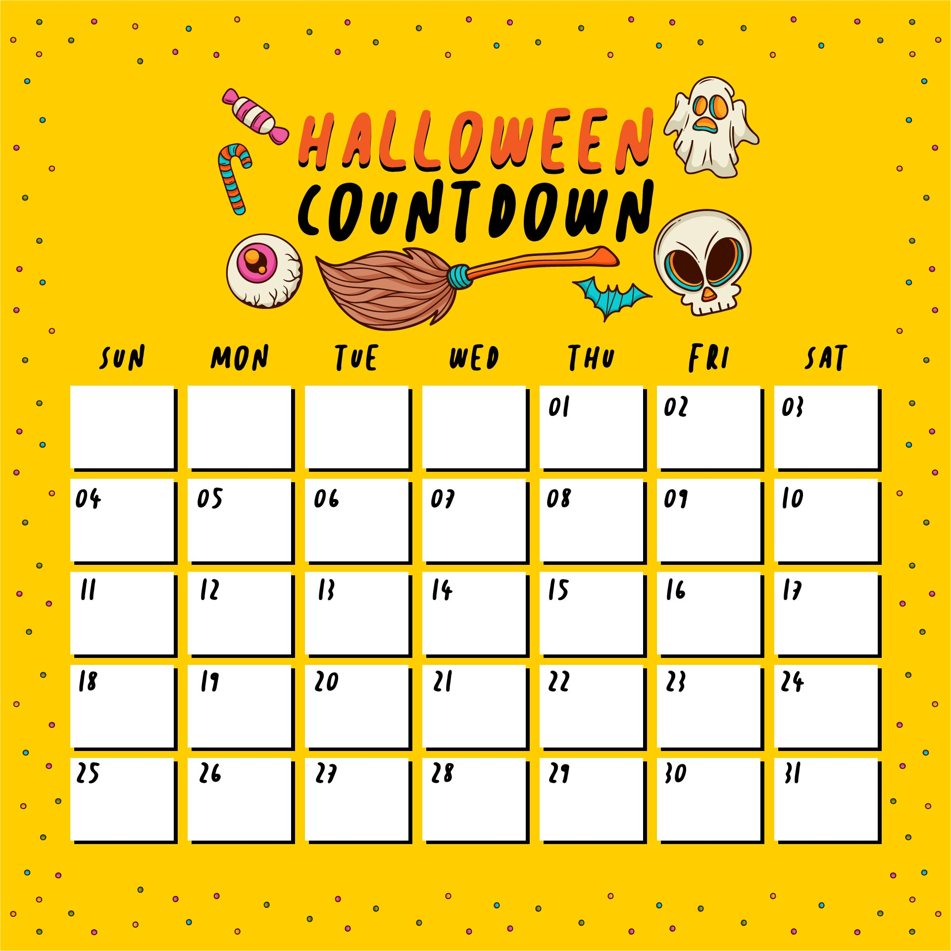 Printable Halloween Calendar