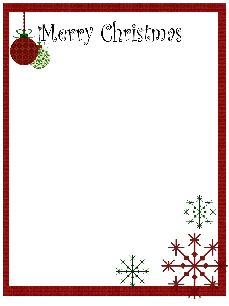 Printable Christmas Stationary Borders