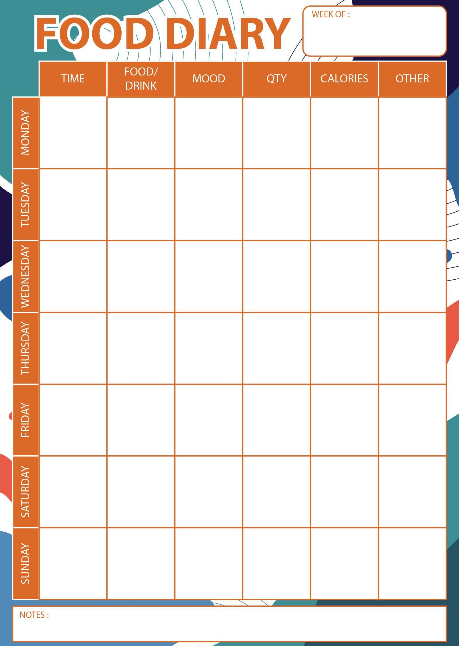 Printable Food Journal For Weight Loss