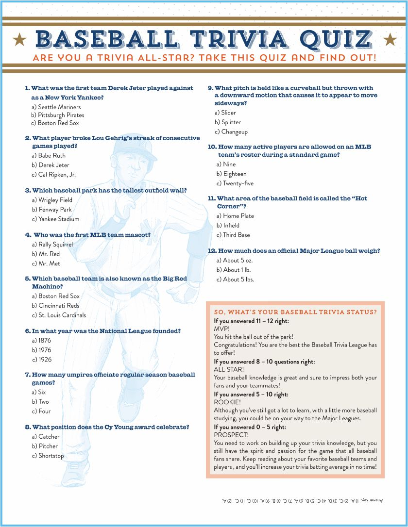 Printable Baseball Trivia And Answers