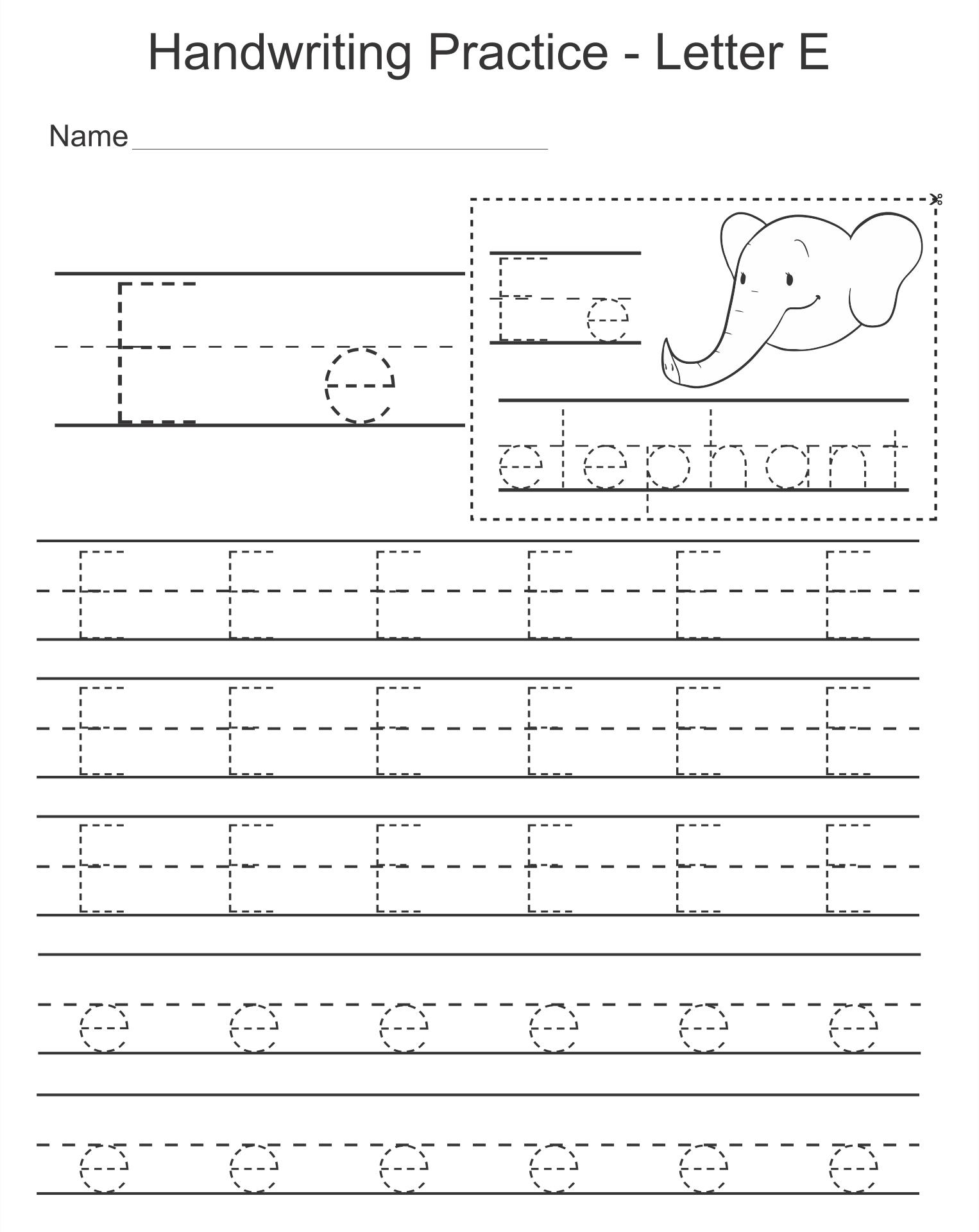 Letter E Worksheets  Printable