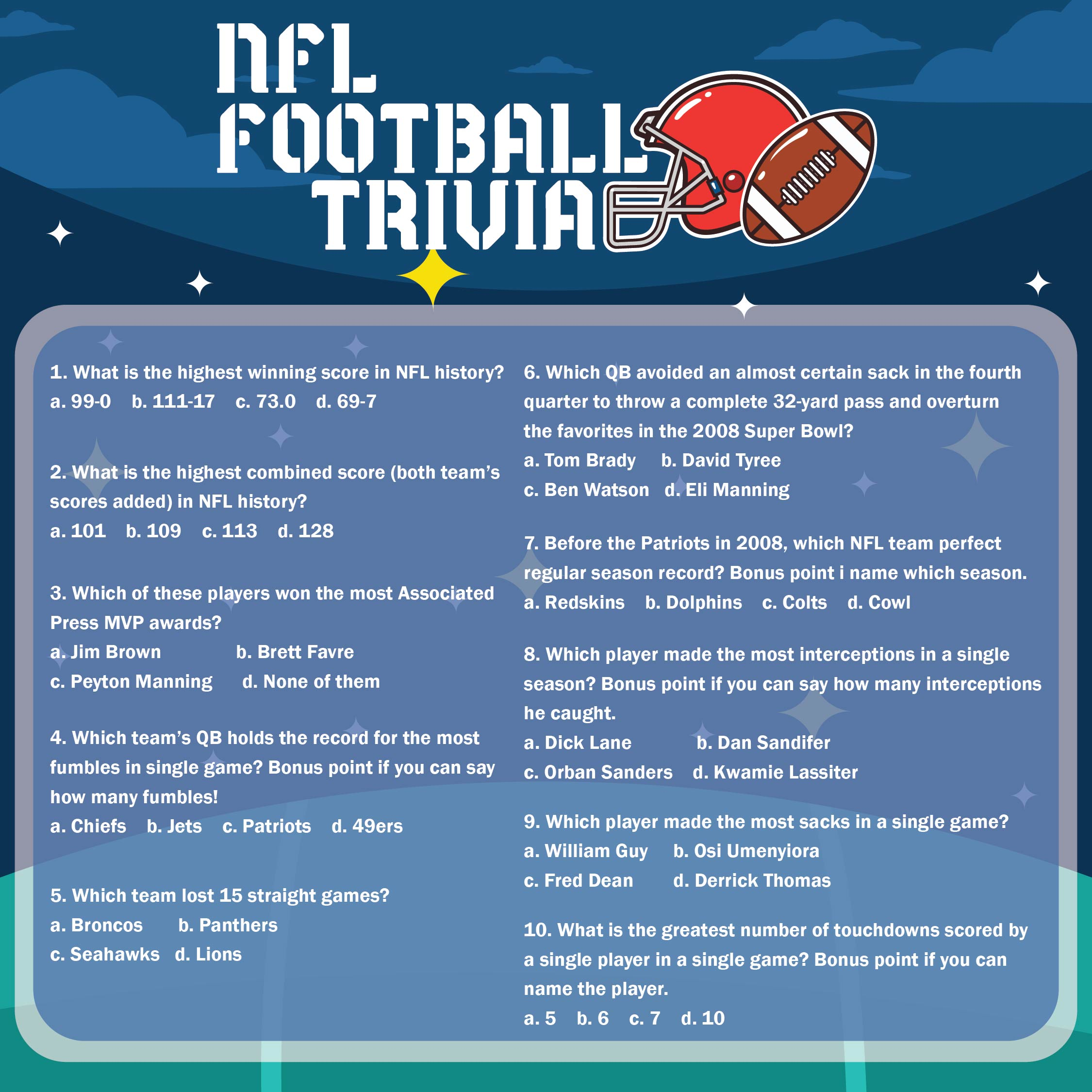 Printable Football Trivia Questions And Answers