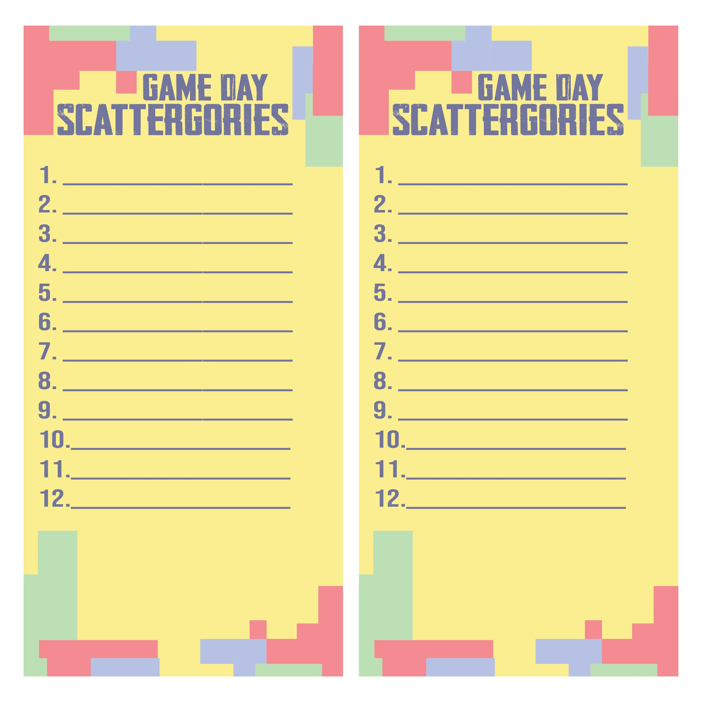 Printable Scattergories Sheets