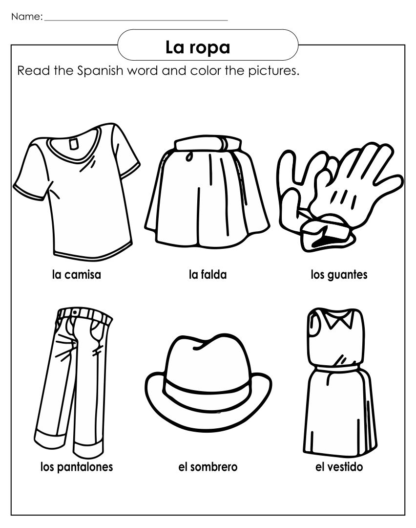 Clothing Printable Worksheets For Preschoolers