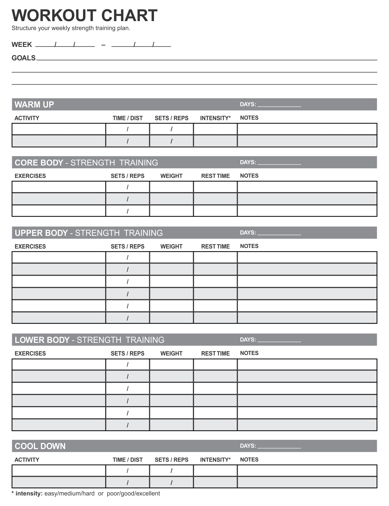 Weight Lifting Workouts Charts Printable