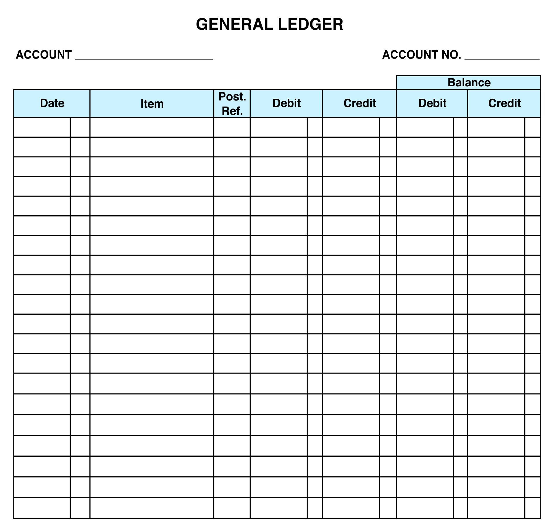 Printable Ledger Balance Sheet