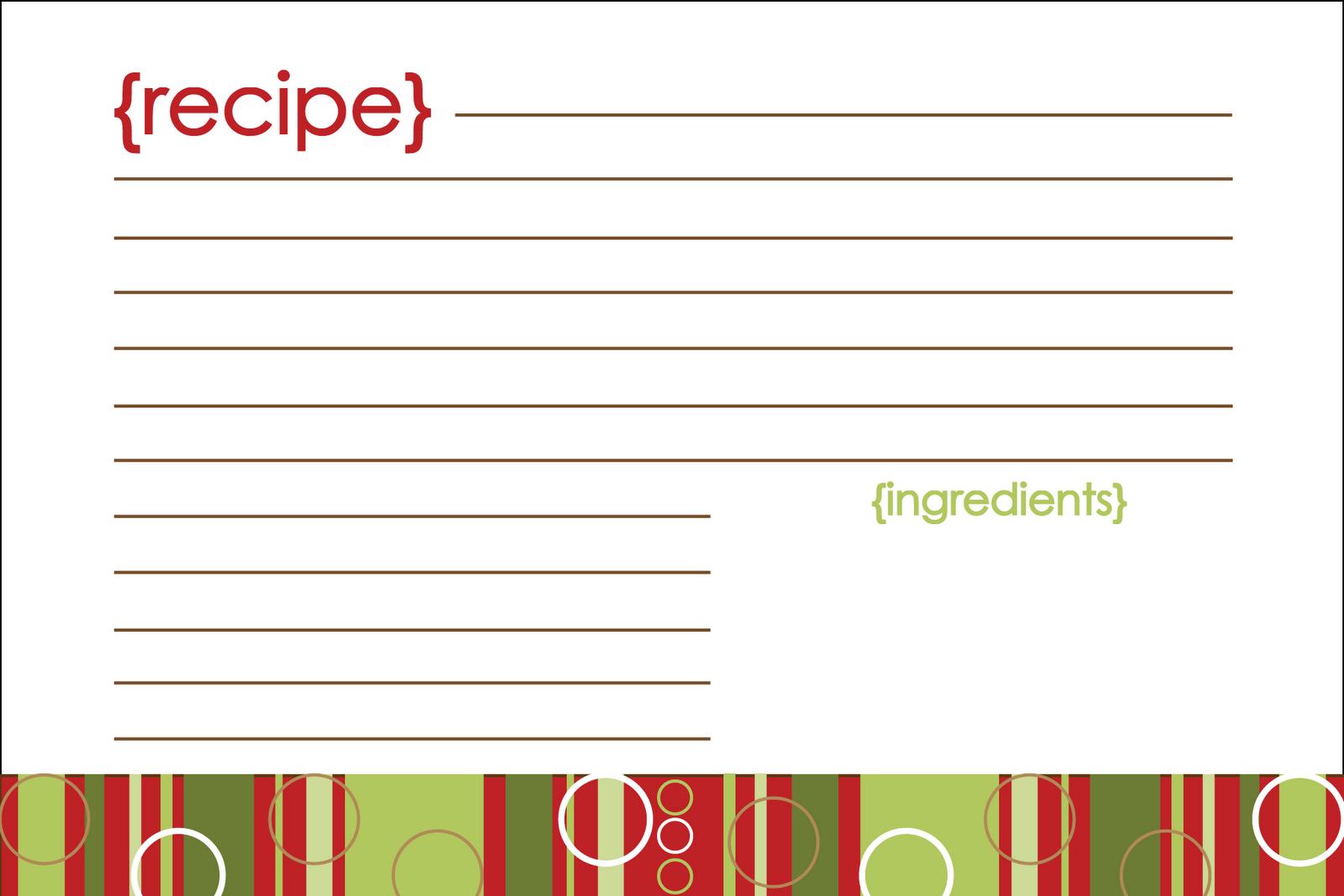 Printable Recipe Cards Christmas