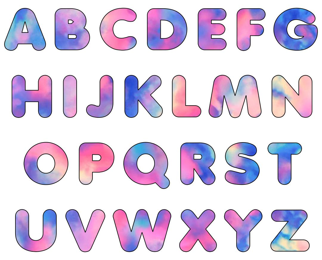 Large Colored Letters Printable