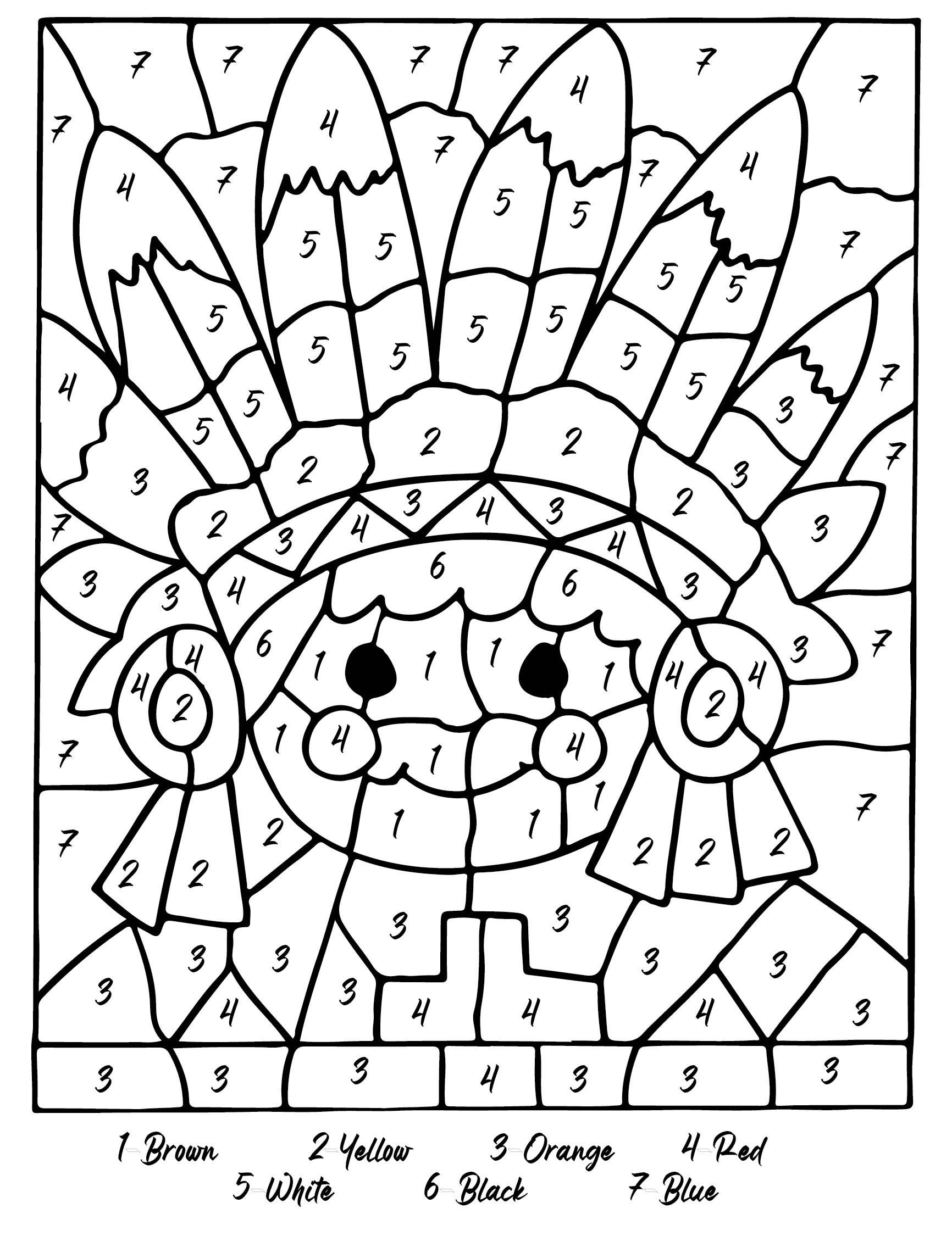 Thanksgiving Color By Number Coloring Pages Printable