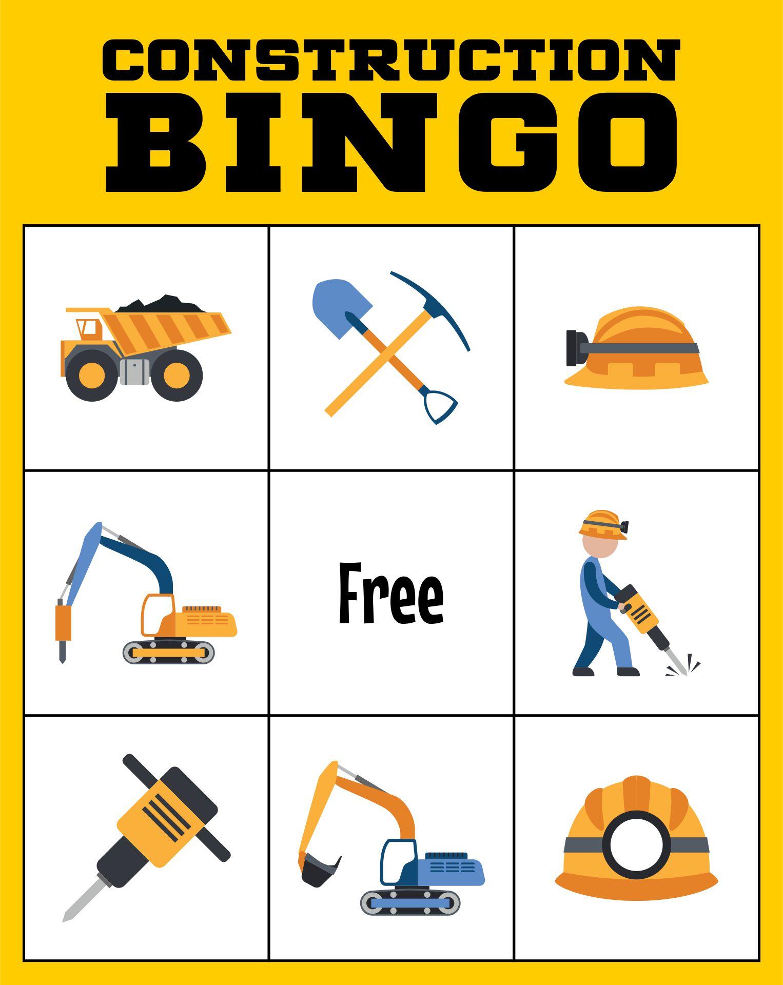 Construction Bingo Printable