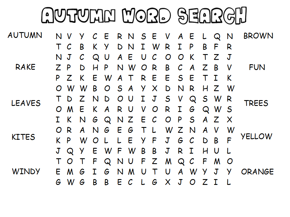 Printable Fall Word Games