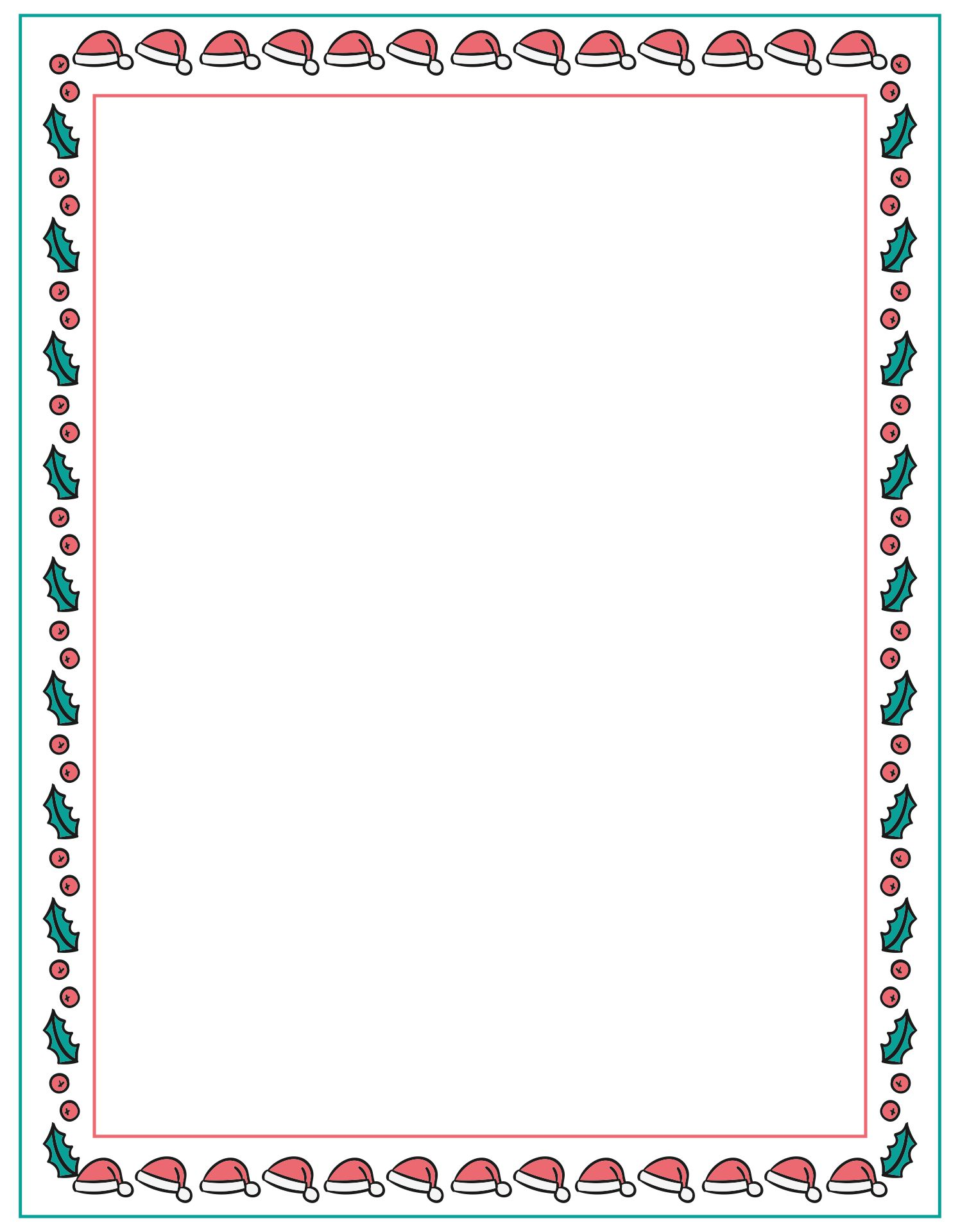 Printable Christmas Borders Holly