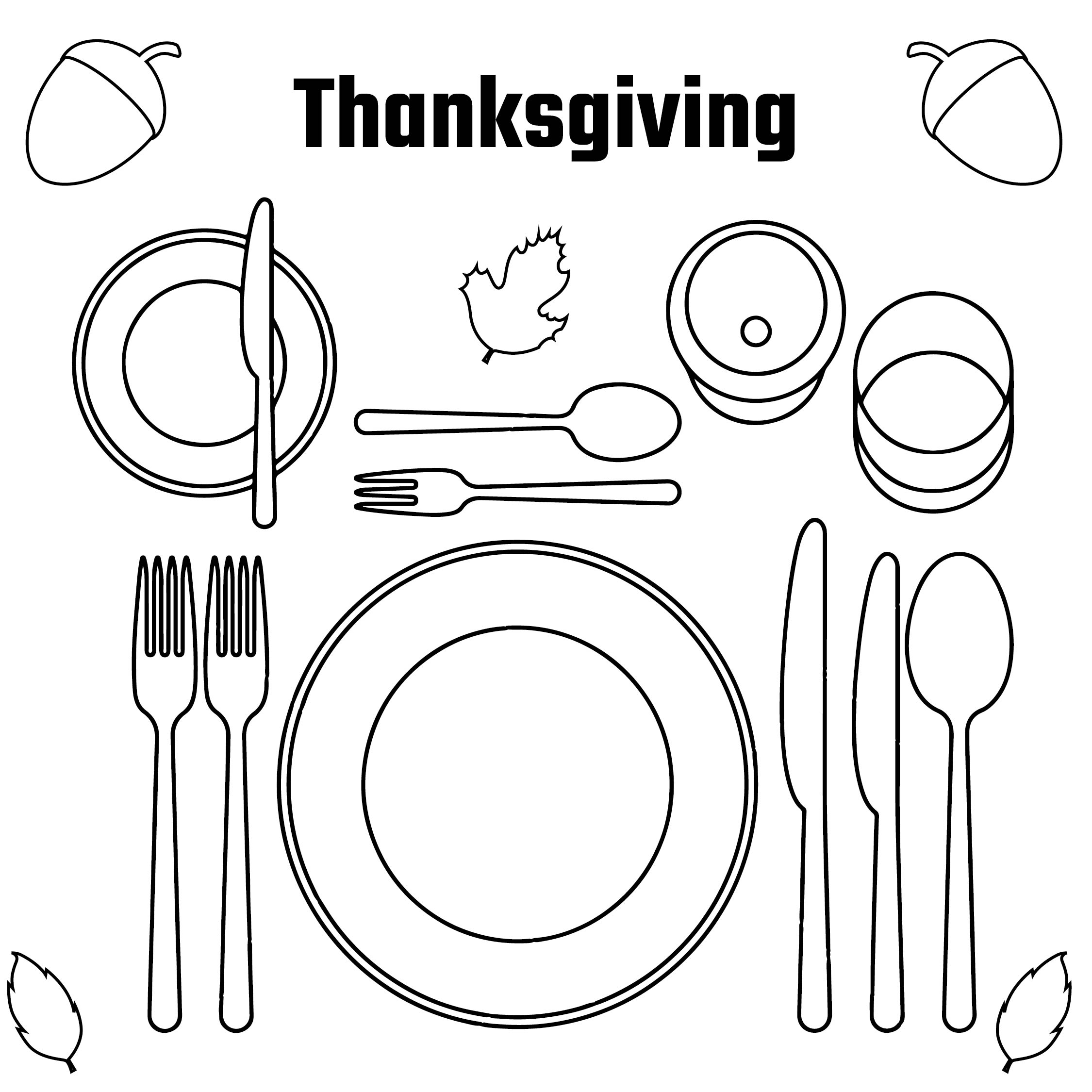 Printable Thanksgiving Placemats To Color
