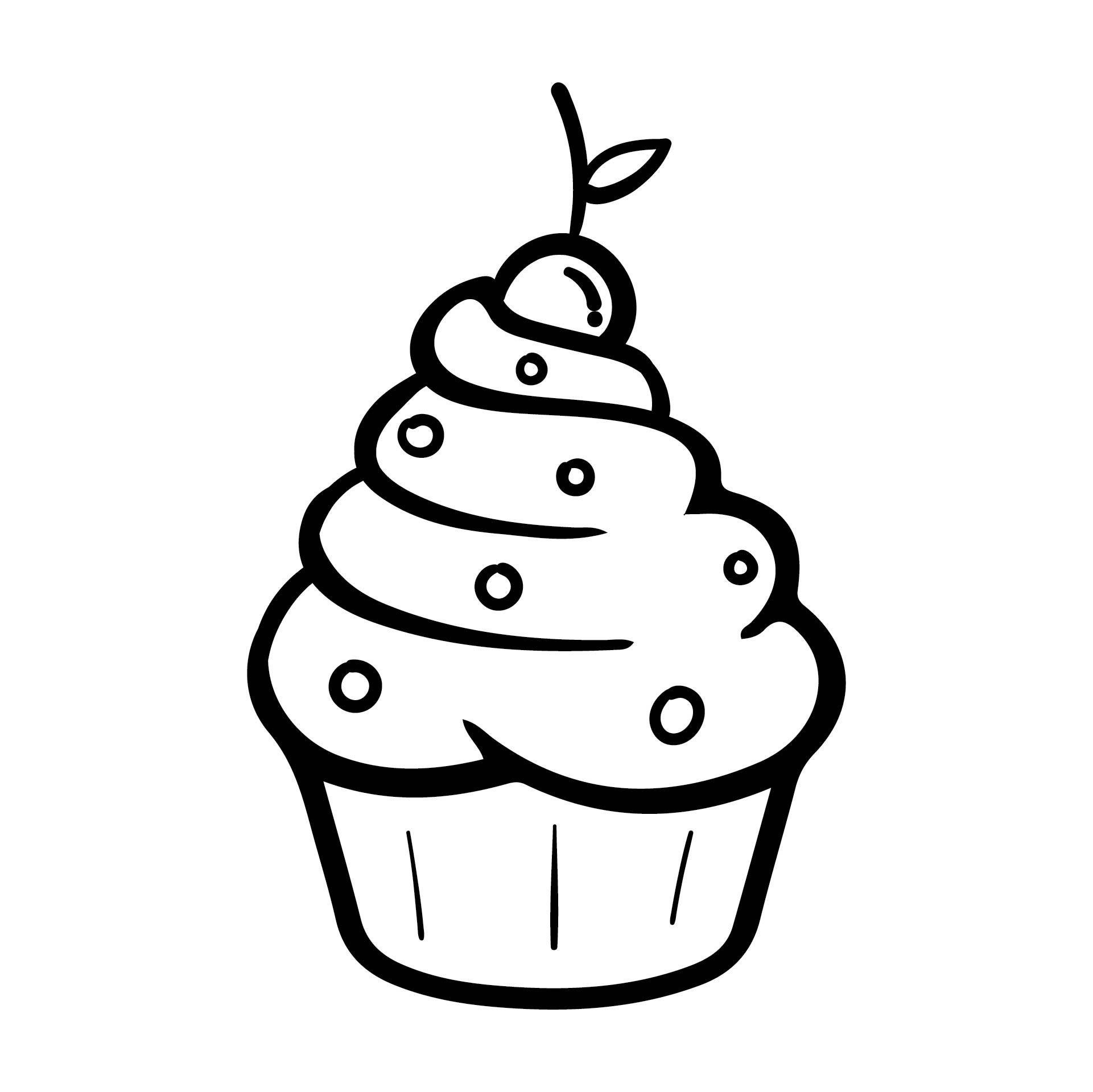 Printable Birthday Cupcake Outlines