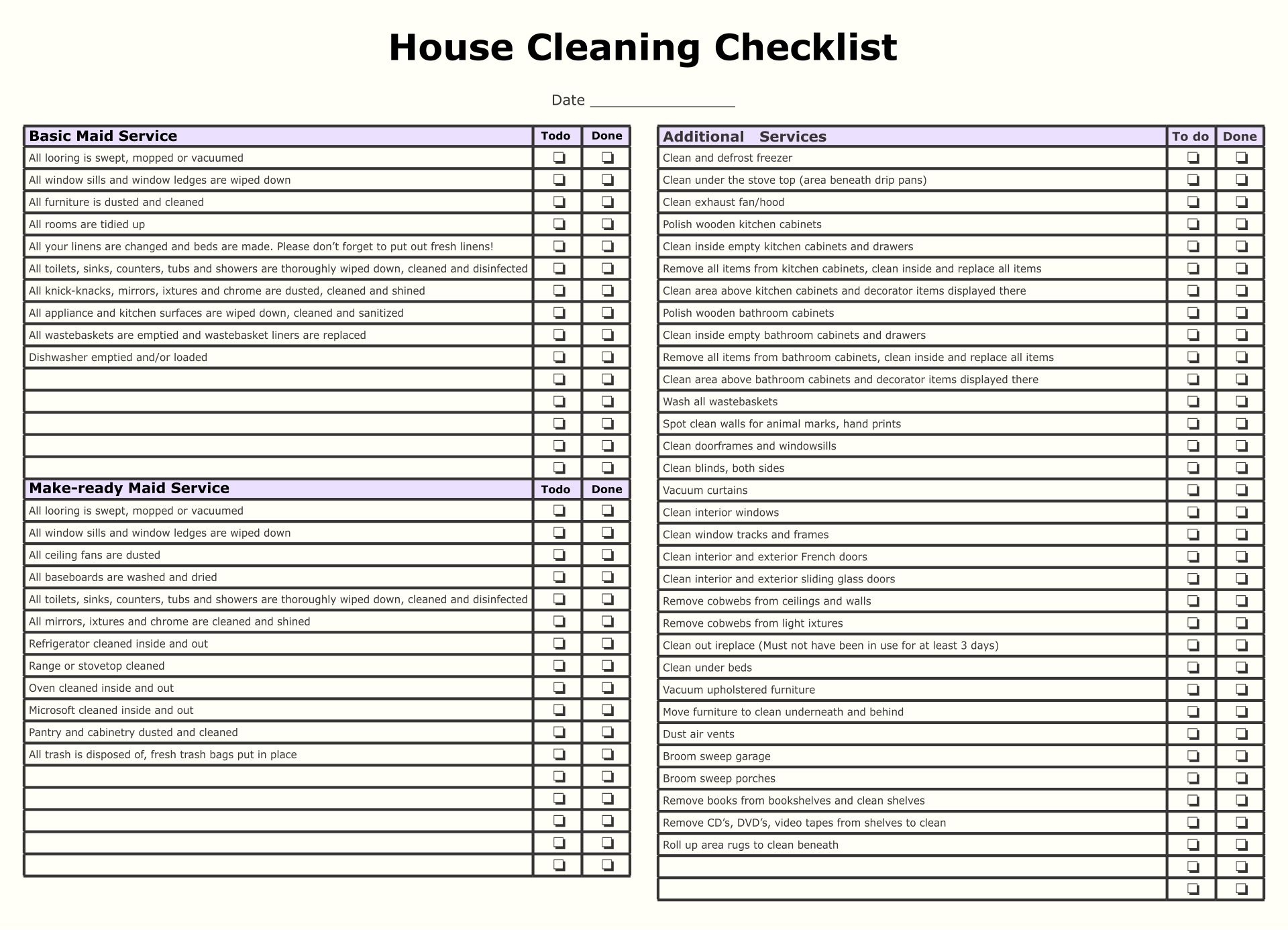 Maid Service Checklist Printable