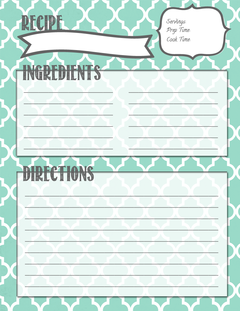 Cookbook Printables