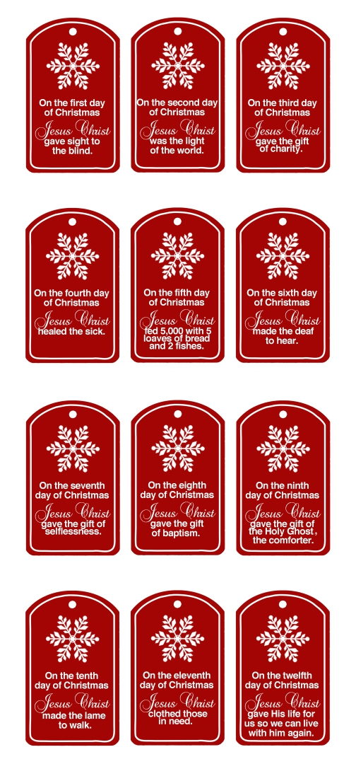 12 Days Of Christmas Tags  Printable