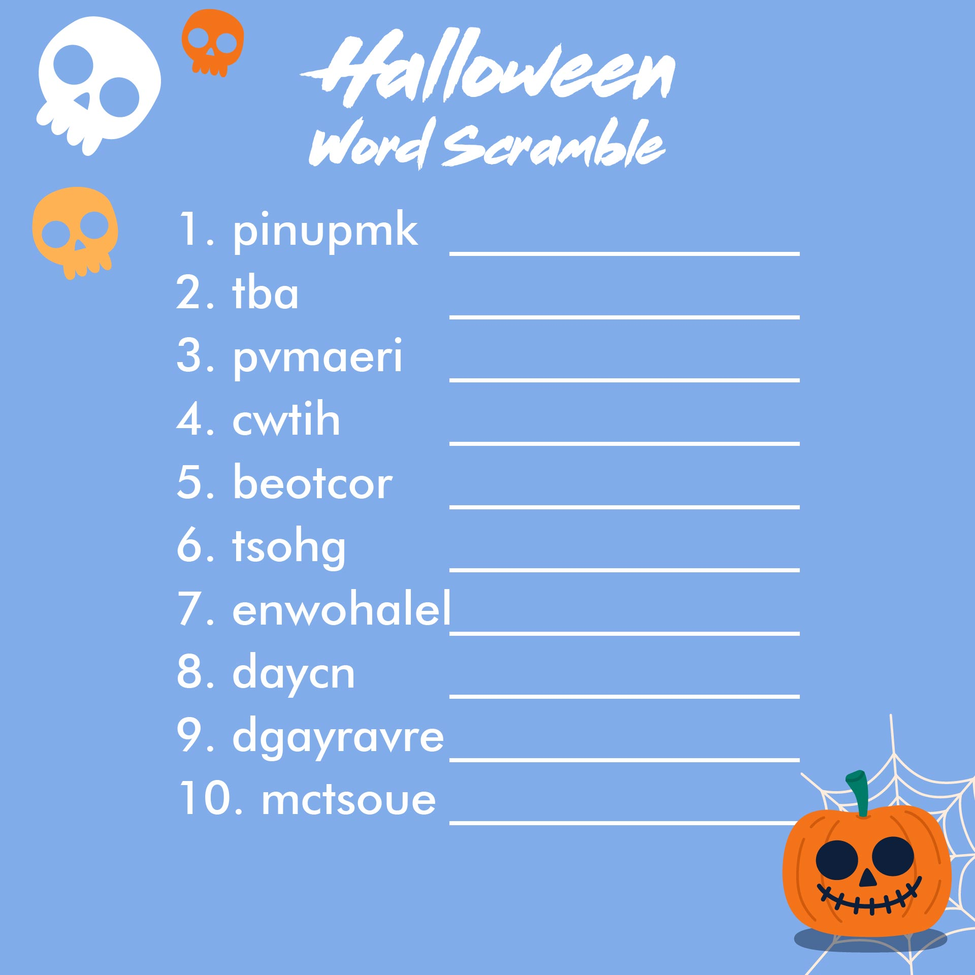 Halloween Word Scramble Printable
