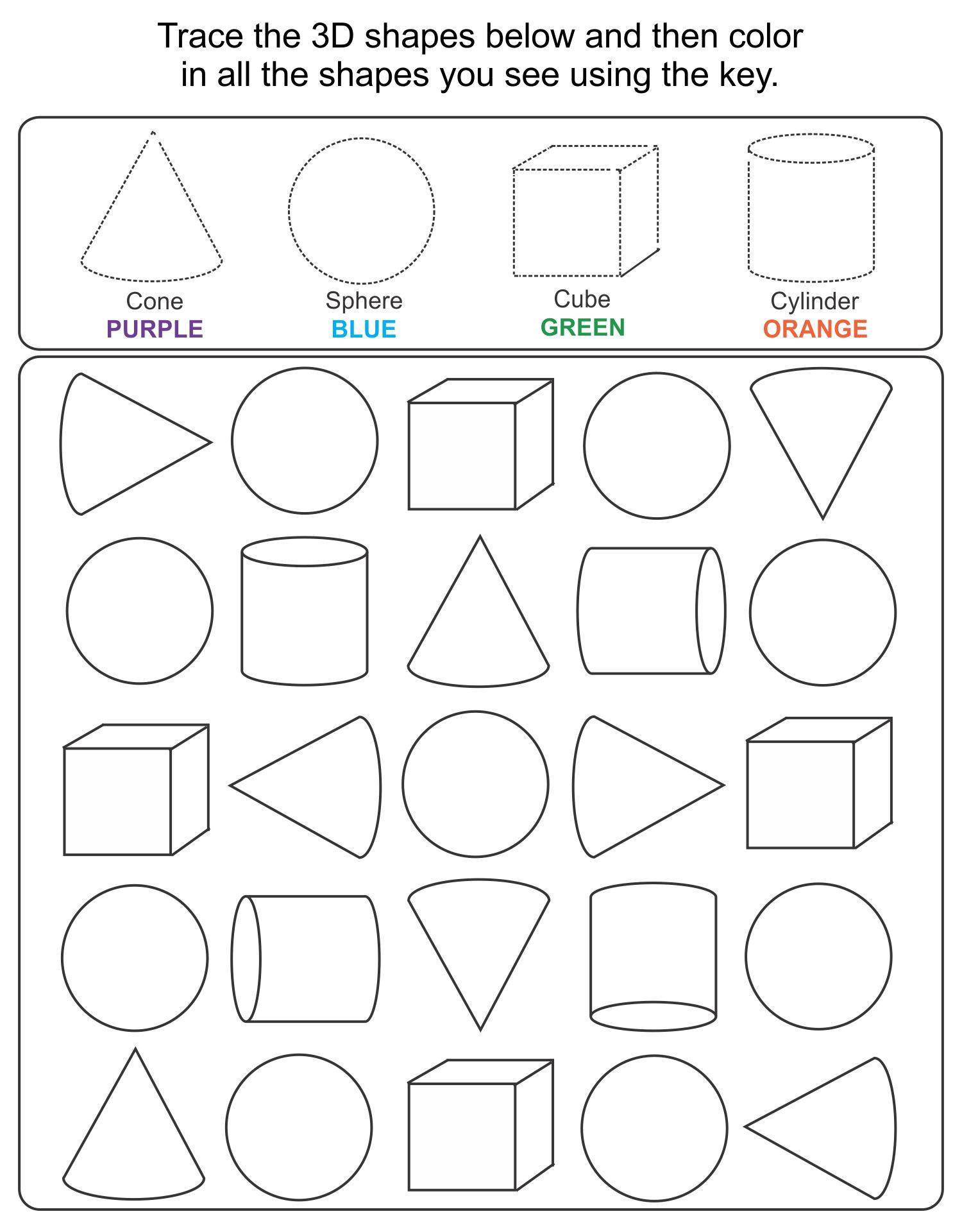 Printable 3D Shapes Kindergarten