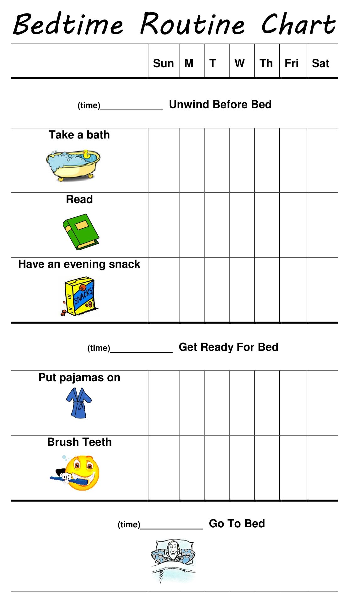 Kids Bedtime Routine Chart Printable