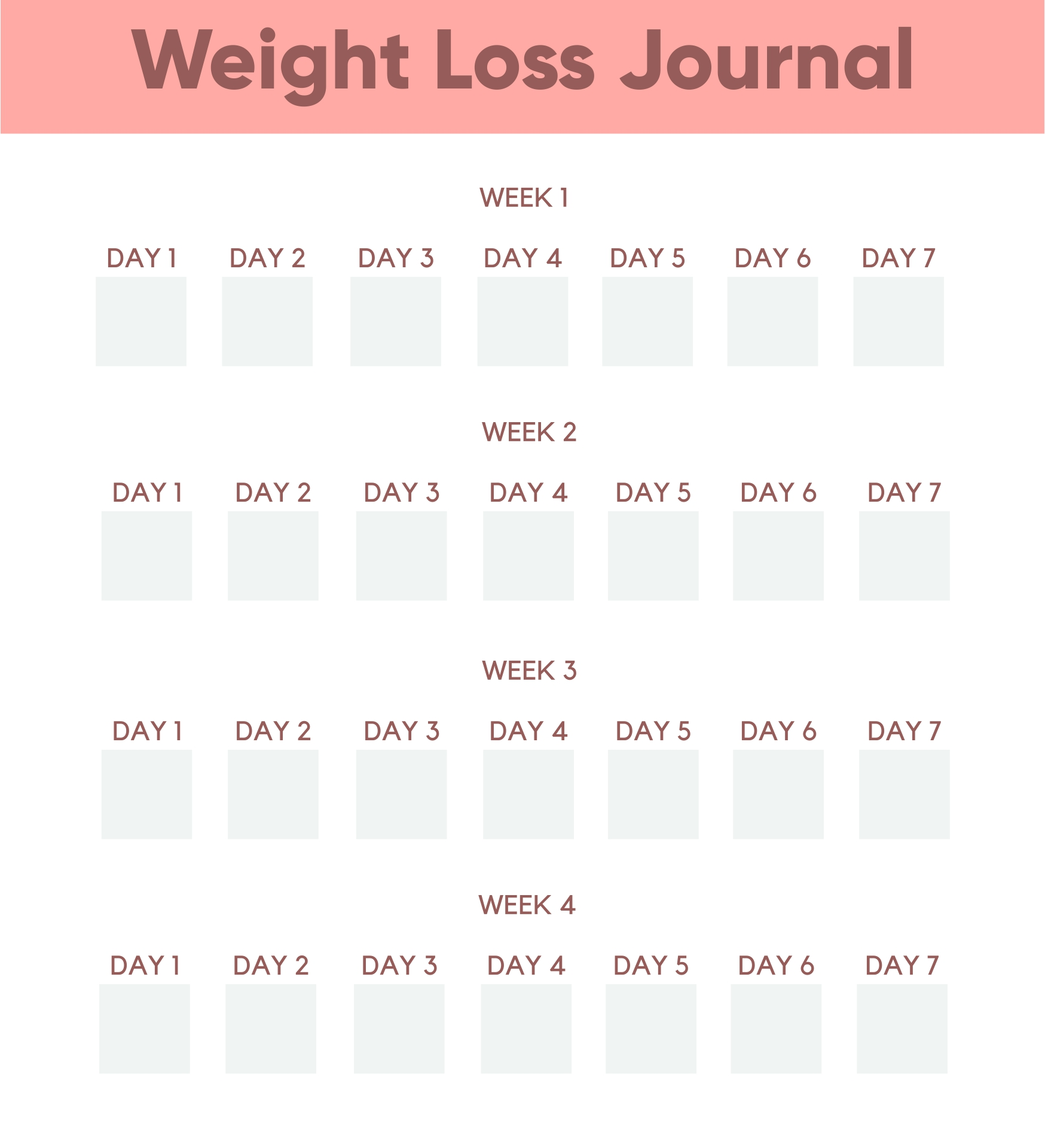 Daily Weight Loss Journal Printable