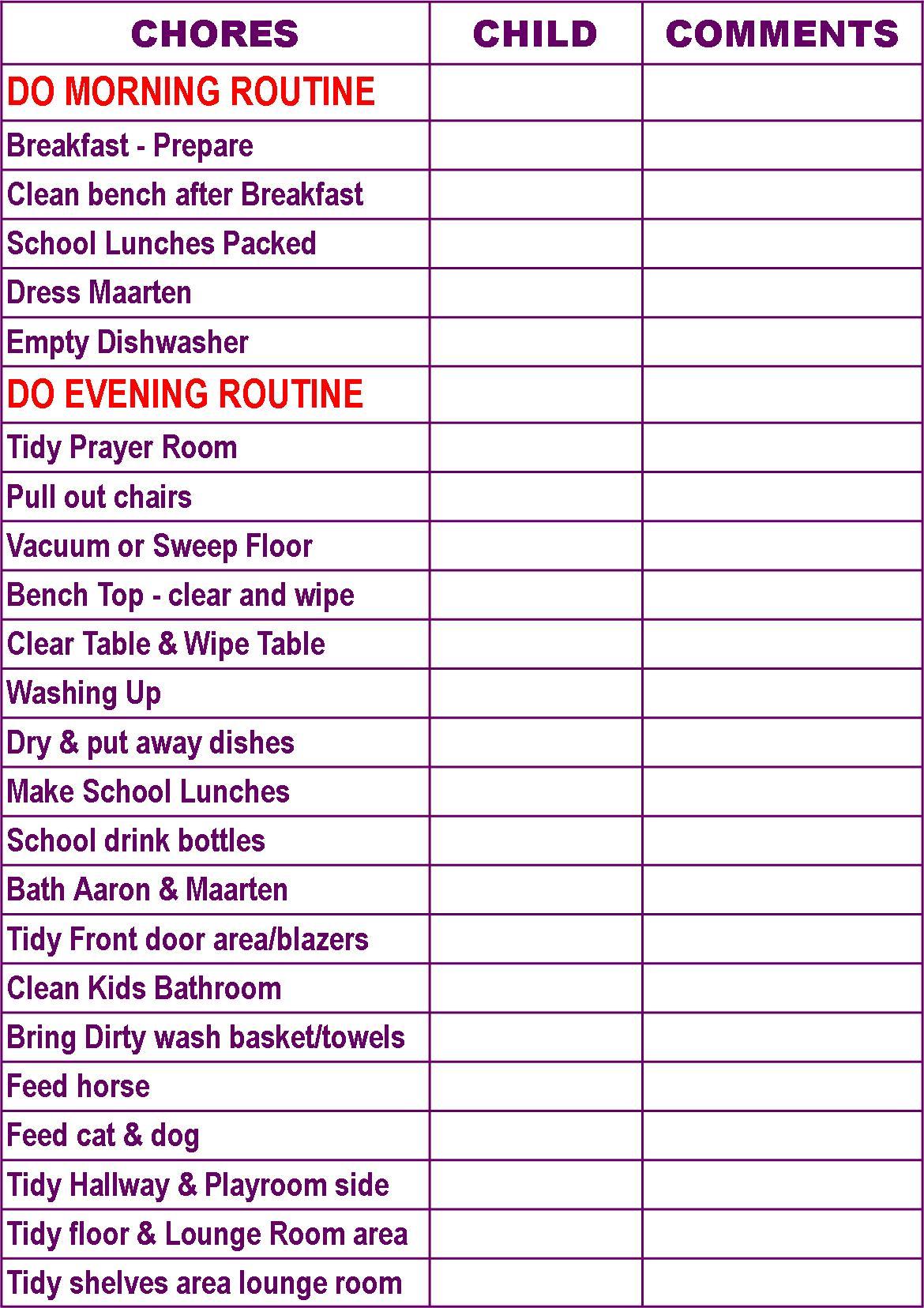 Large Family Chore Chart Printable