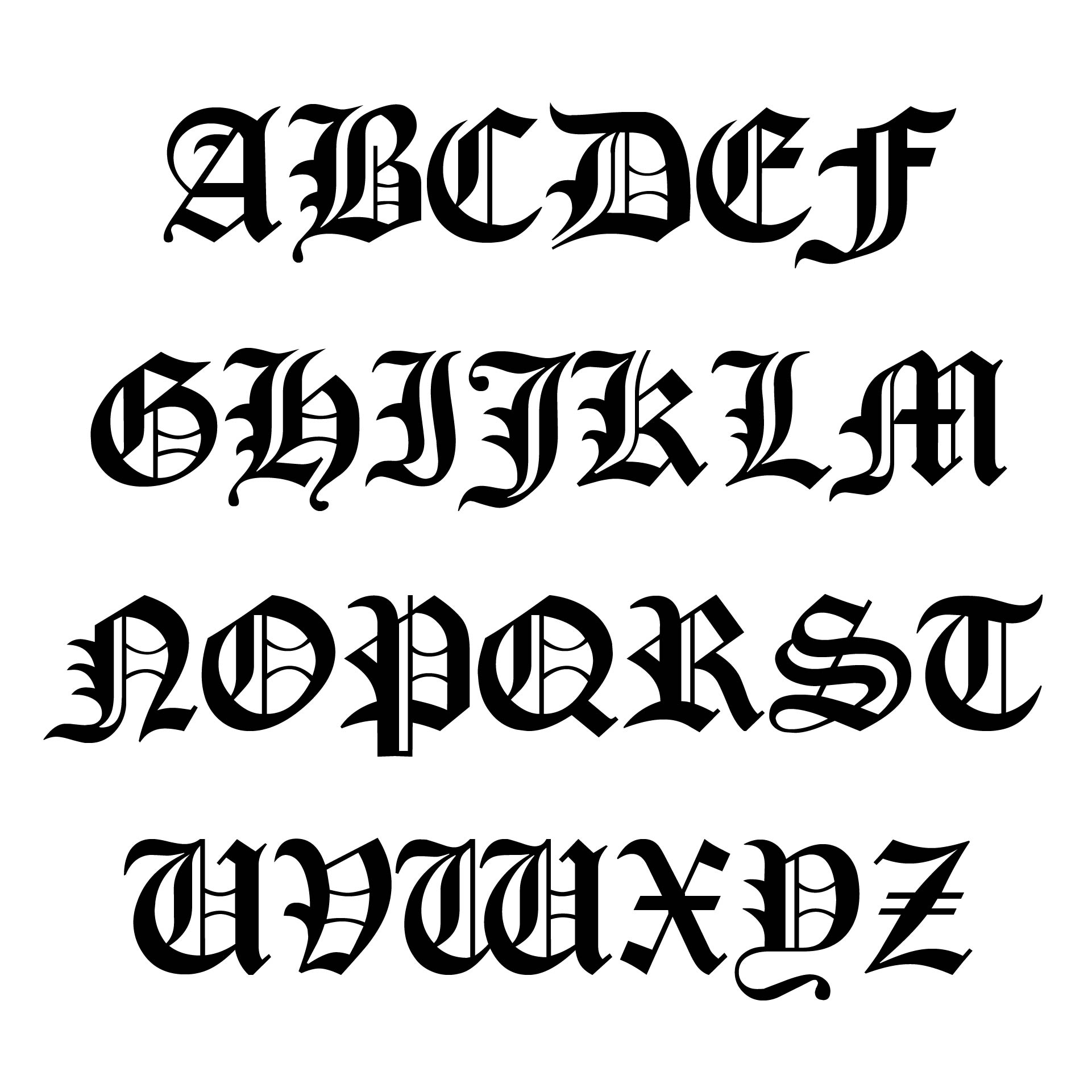 Printable Old English Alphabet A-Z