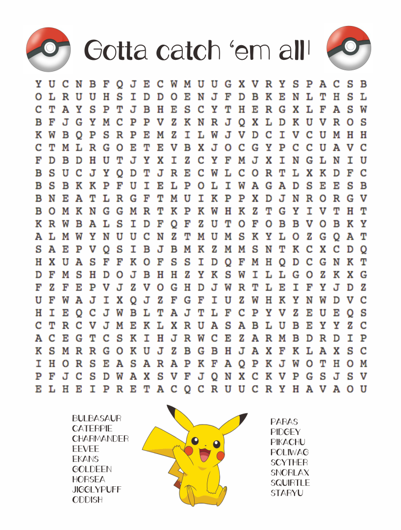 Pokemon Word Search Puzzles Printable
