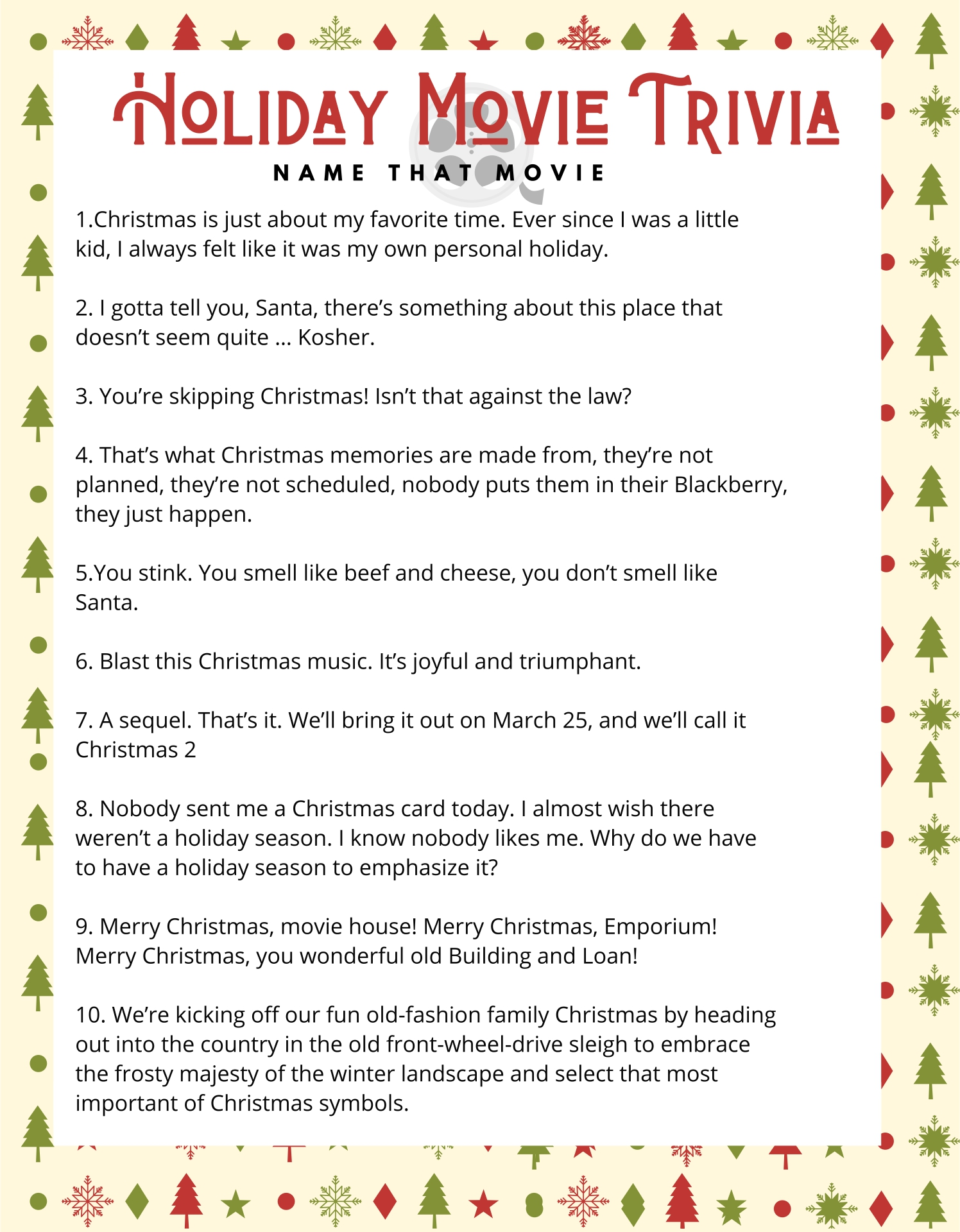 Christmas Movie Trivia Printable