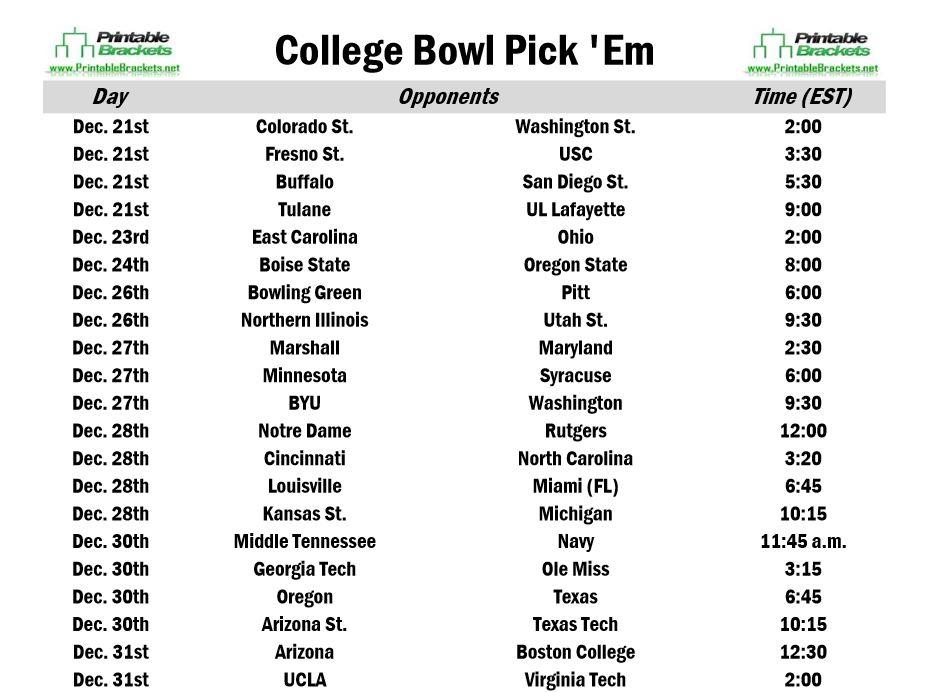 College Football Bowl Brackets Printable