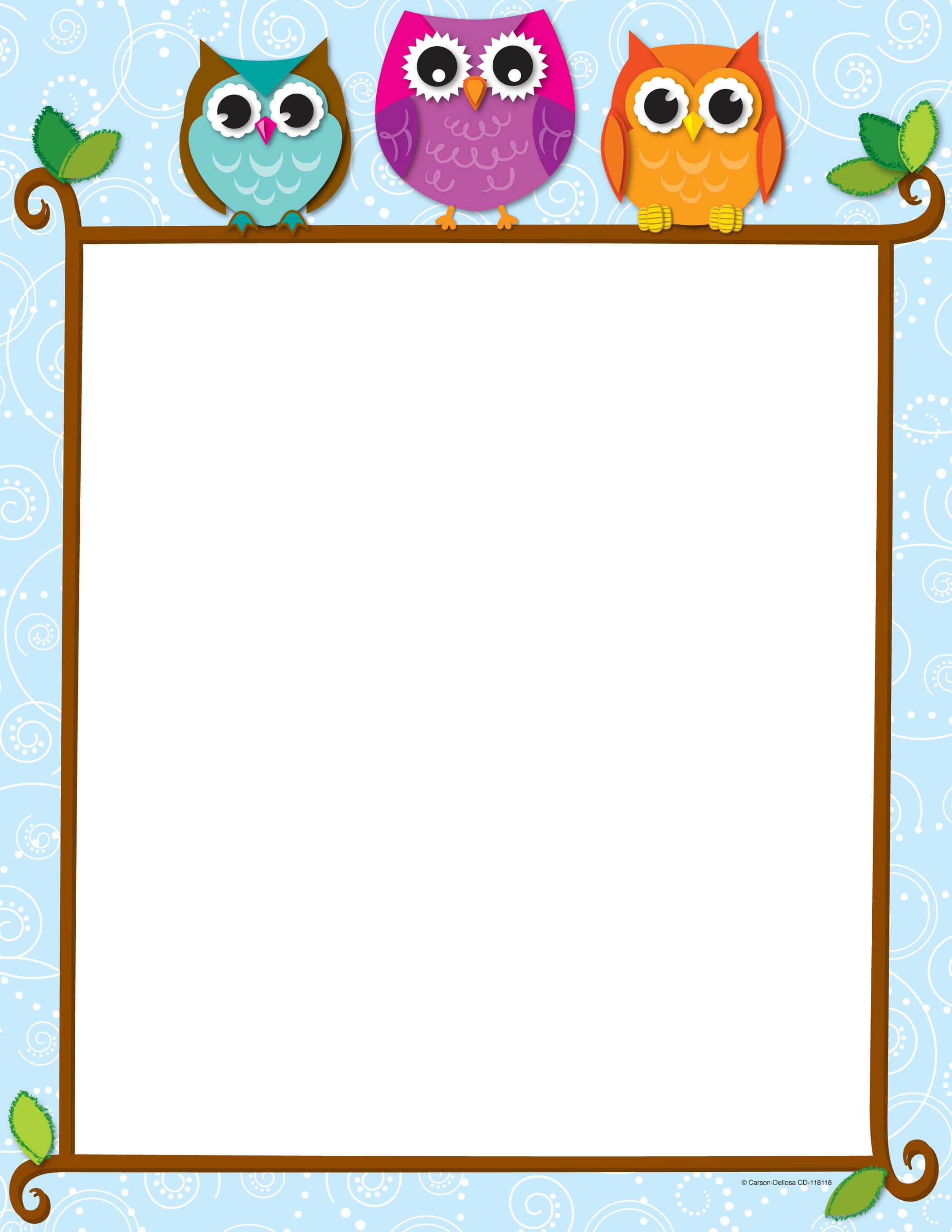 7 best images of owls printable borders and frames