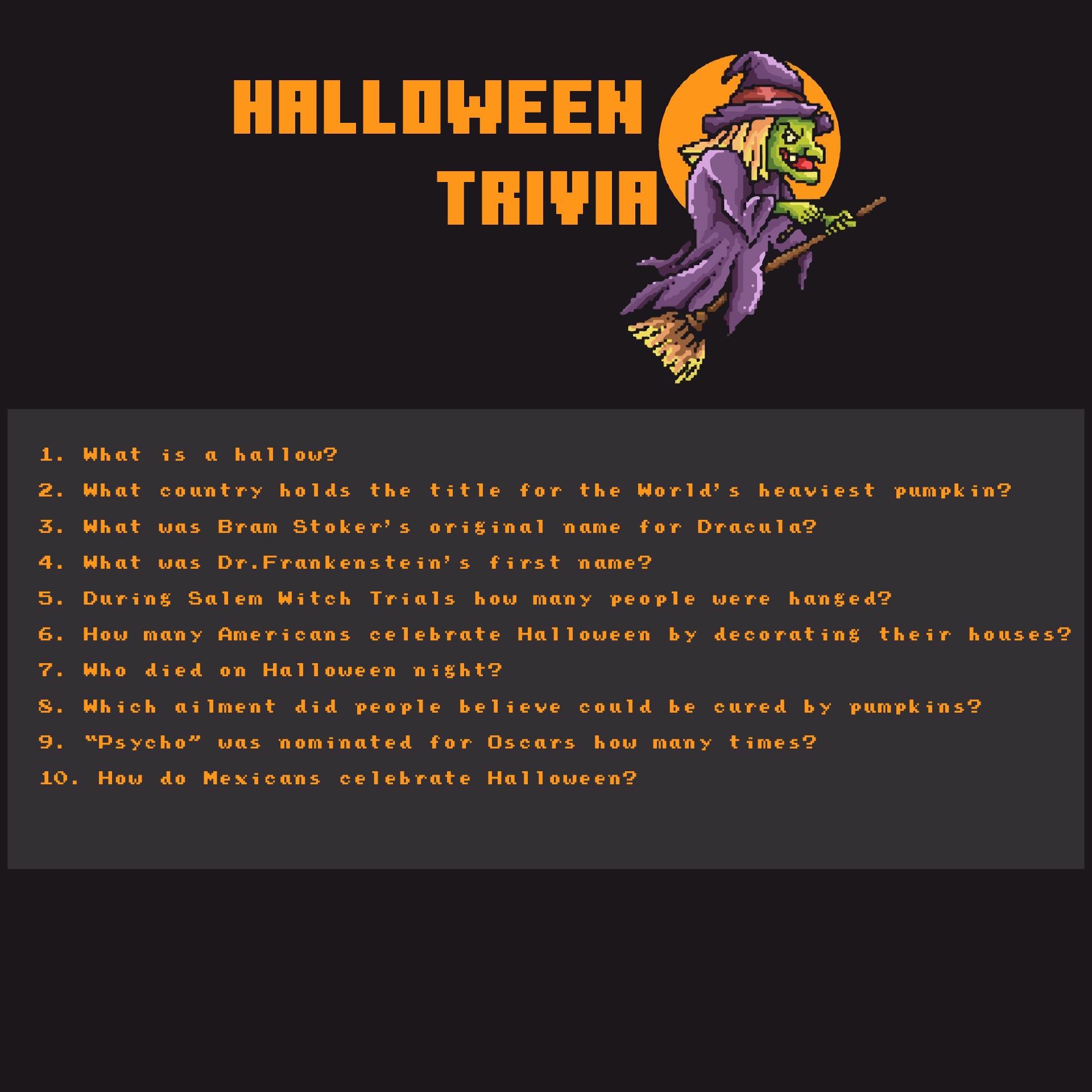 Printable Halloween Trivia Quizzes