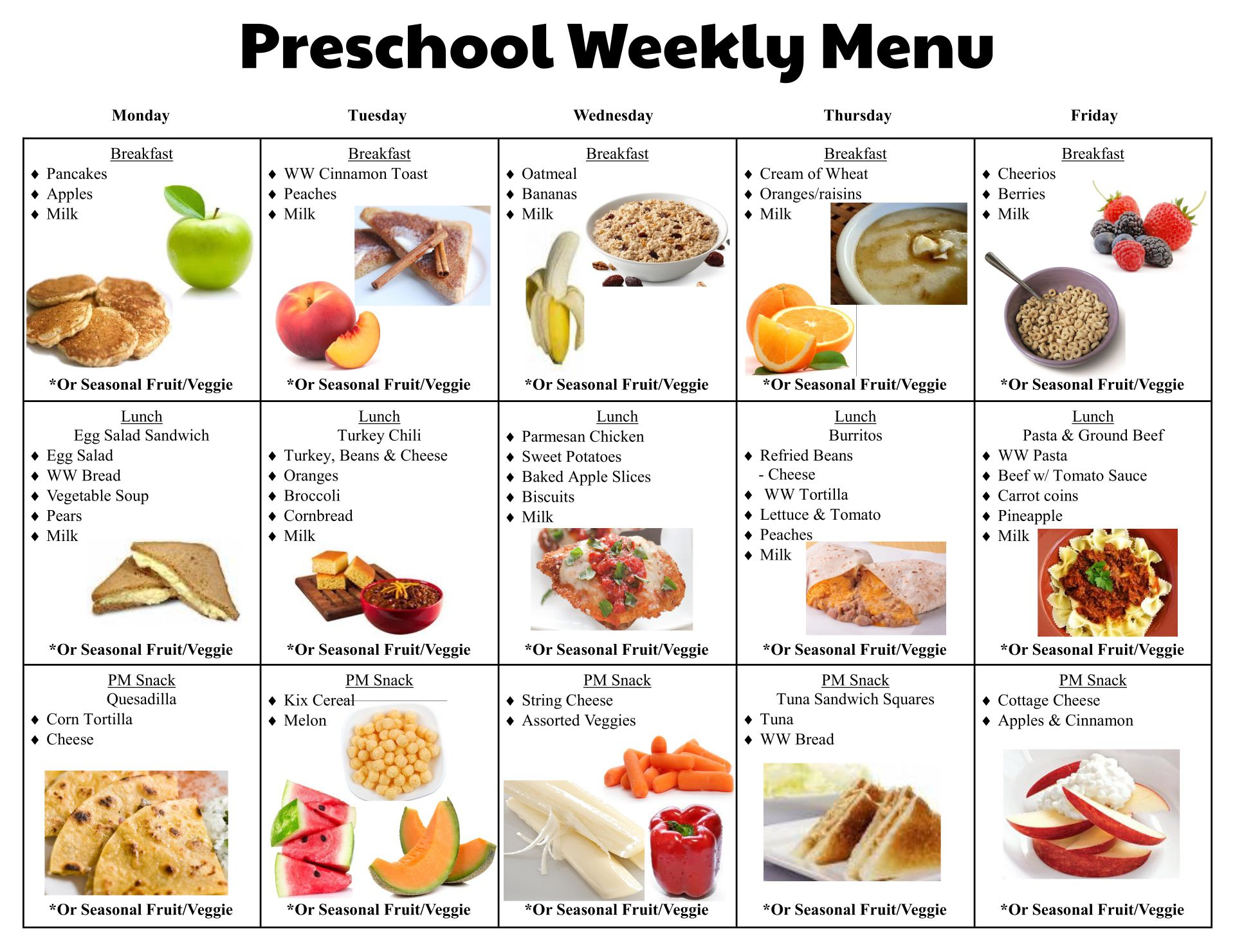 free school lunch menu templates - 8 best images of printable menus daycares sample daycare