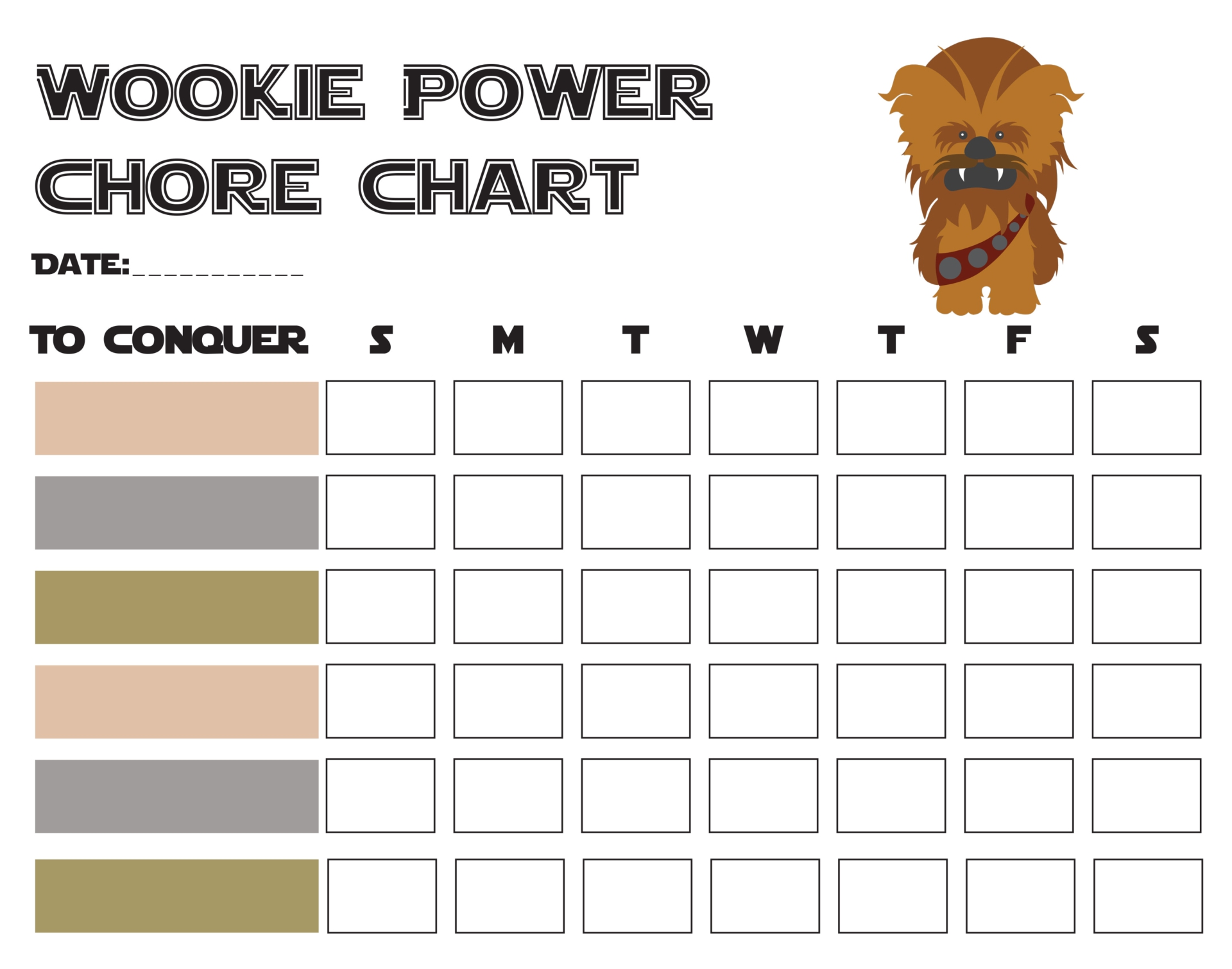 Weekly Chore Printable Reward Chart