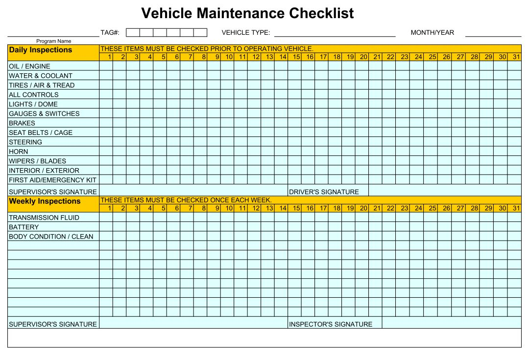 Home Maintenance Checklist Printable