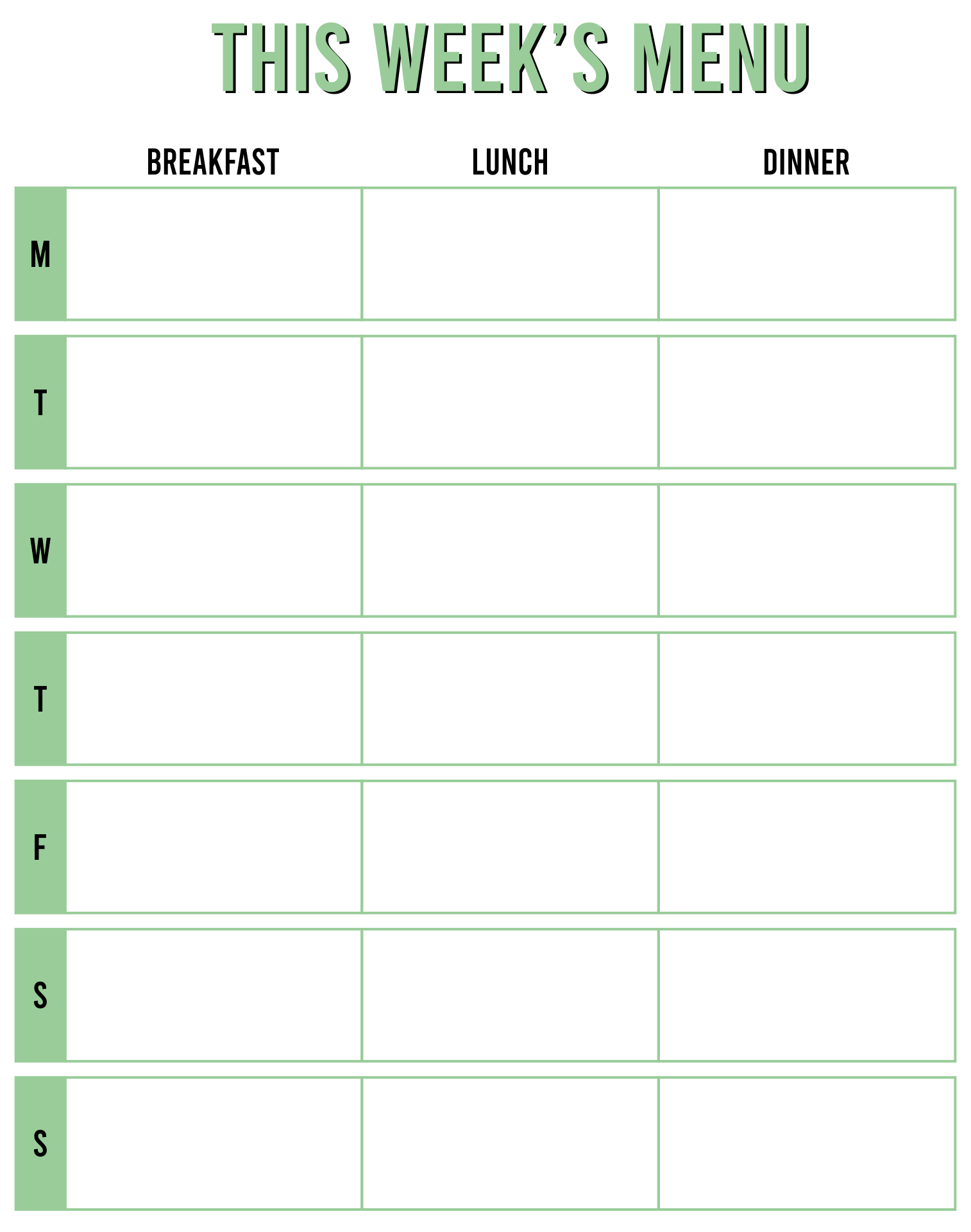 Printable Blank Menu For Day Care