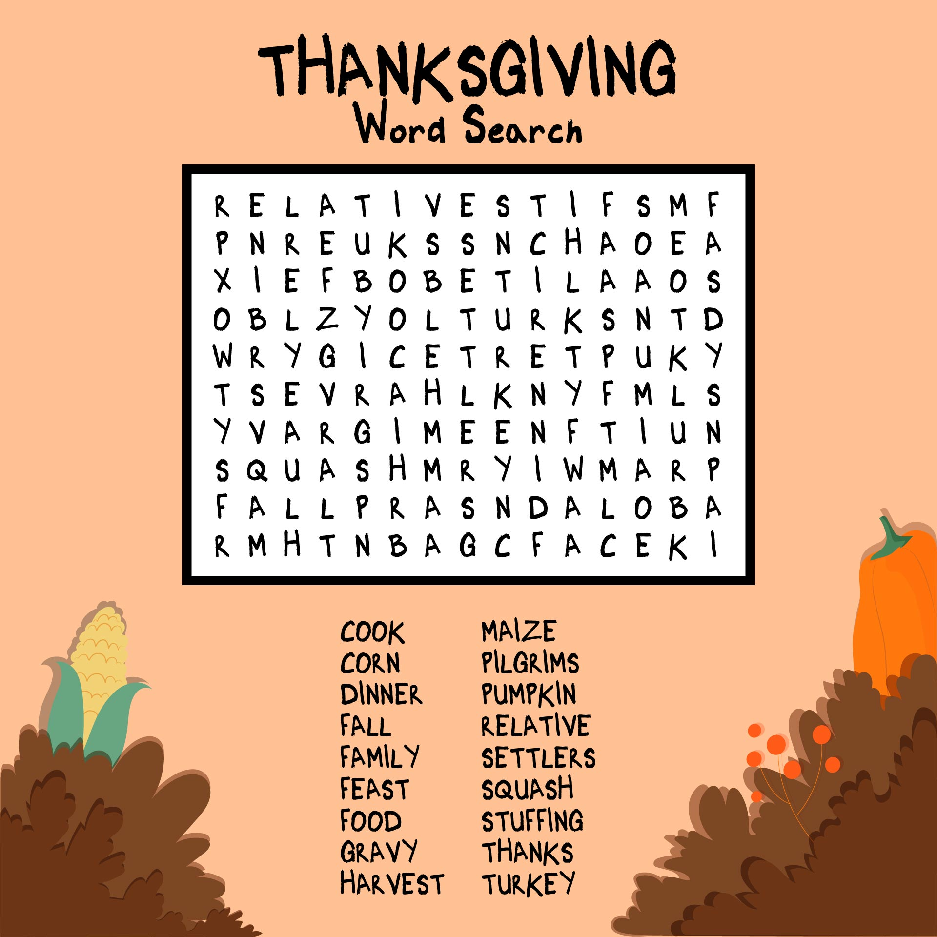 Thanksgiving History Word Search Printable