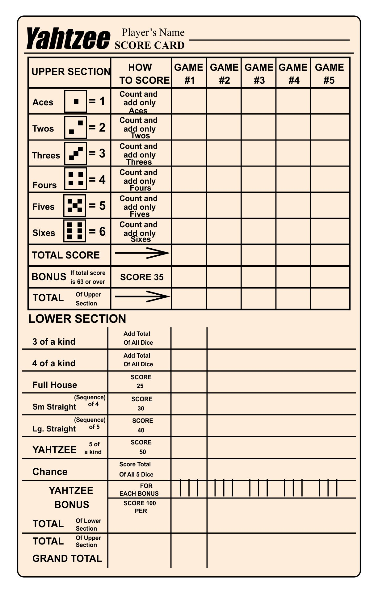 Large Printable Yahtzee Score Sheets