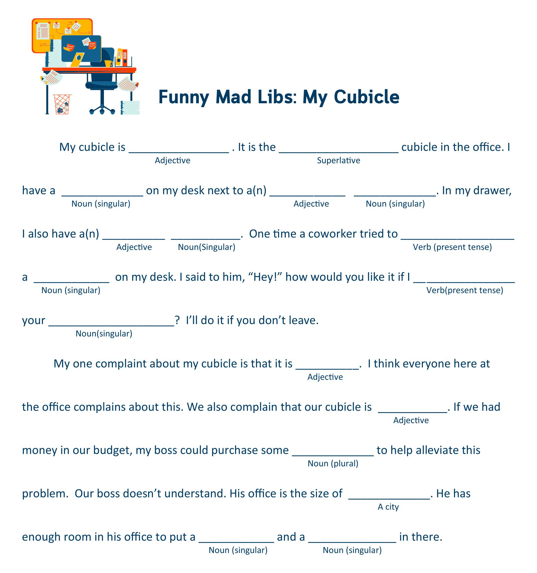 Office Mad Libs Printable