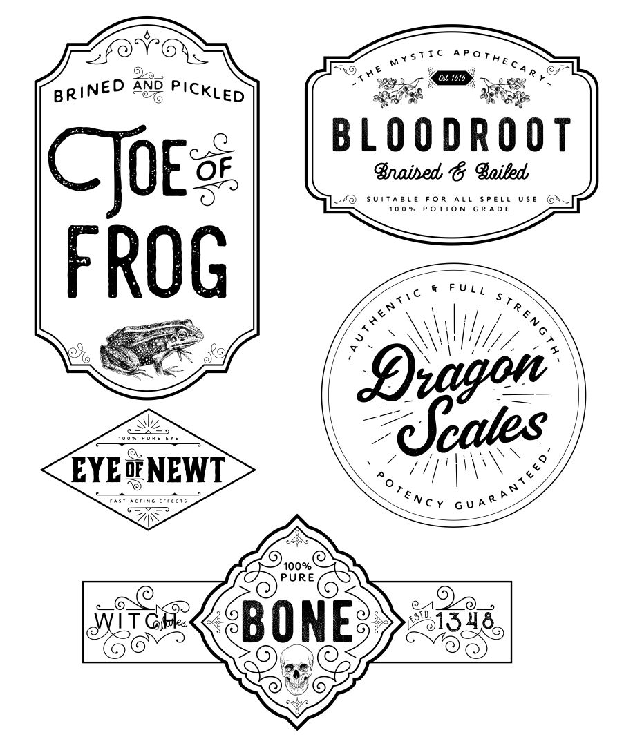Printable Halloween Bottle Potion Labels
