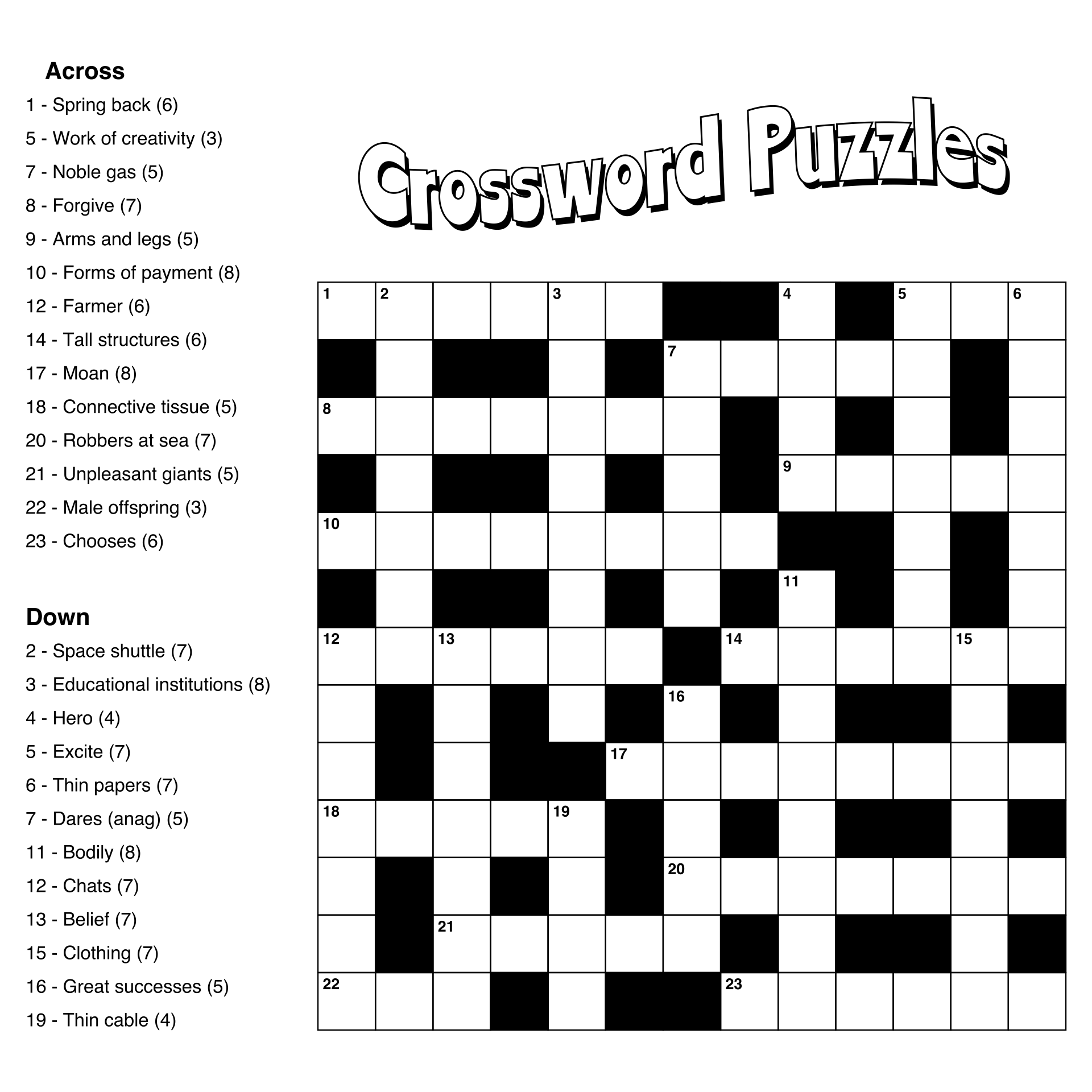 Large Print Easy Crossword Puzzles Printable