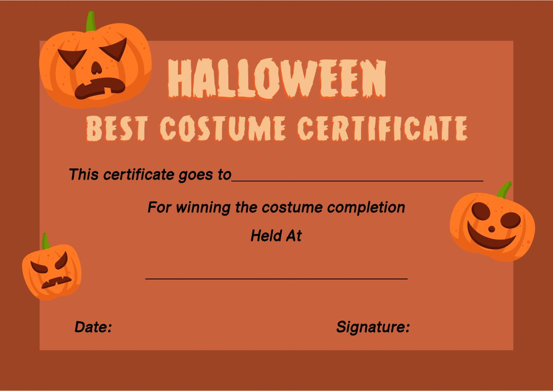 Printable Halloween Certificate Templates