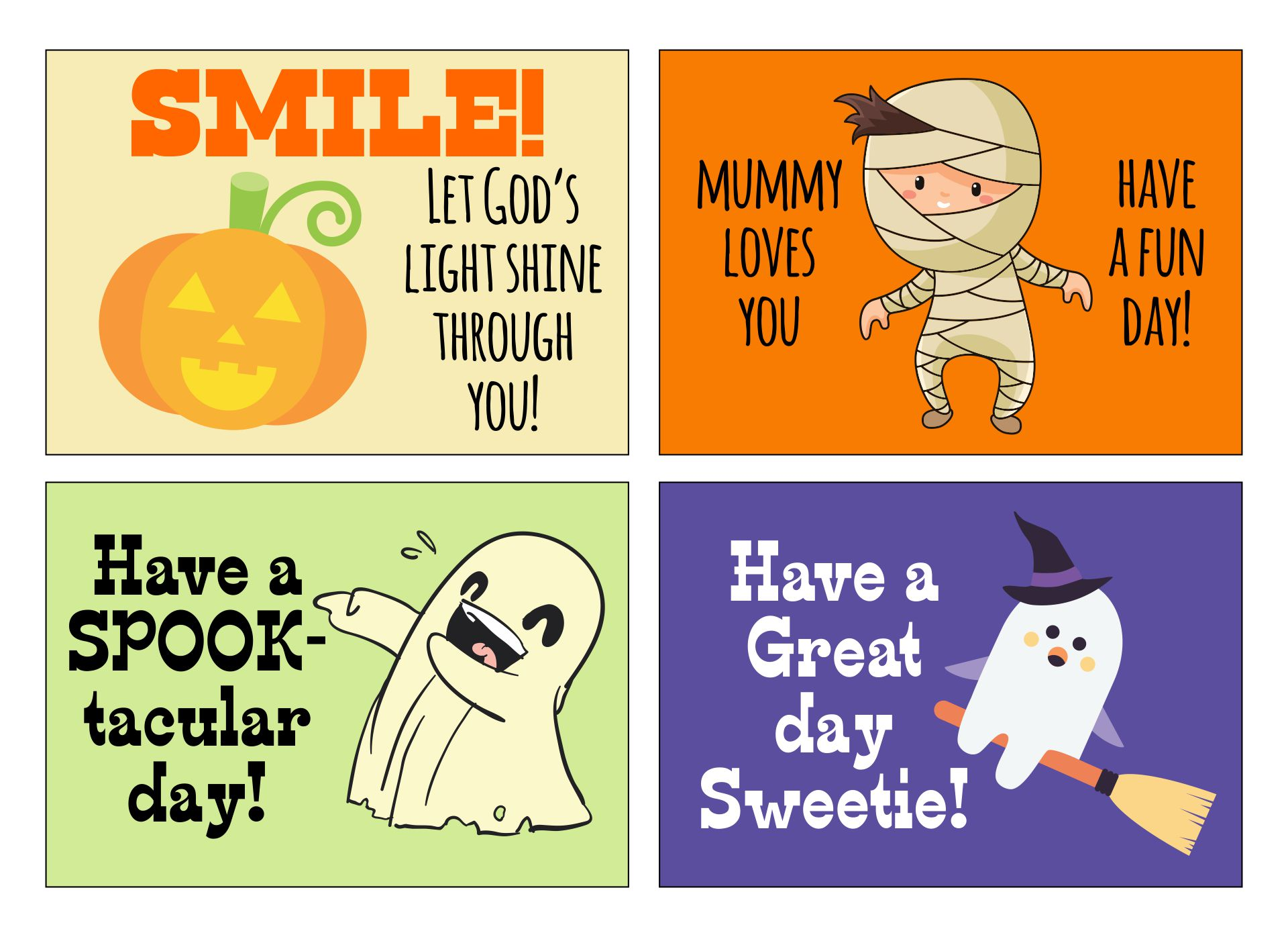 Printable Halloween Lunch Notes
