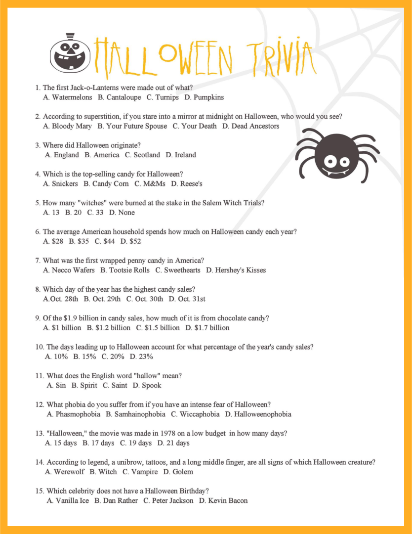 Halloween Movie Trivia Printable