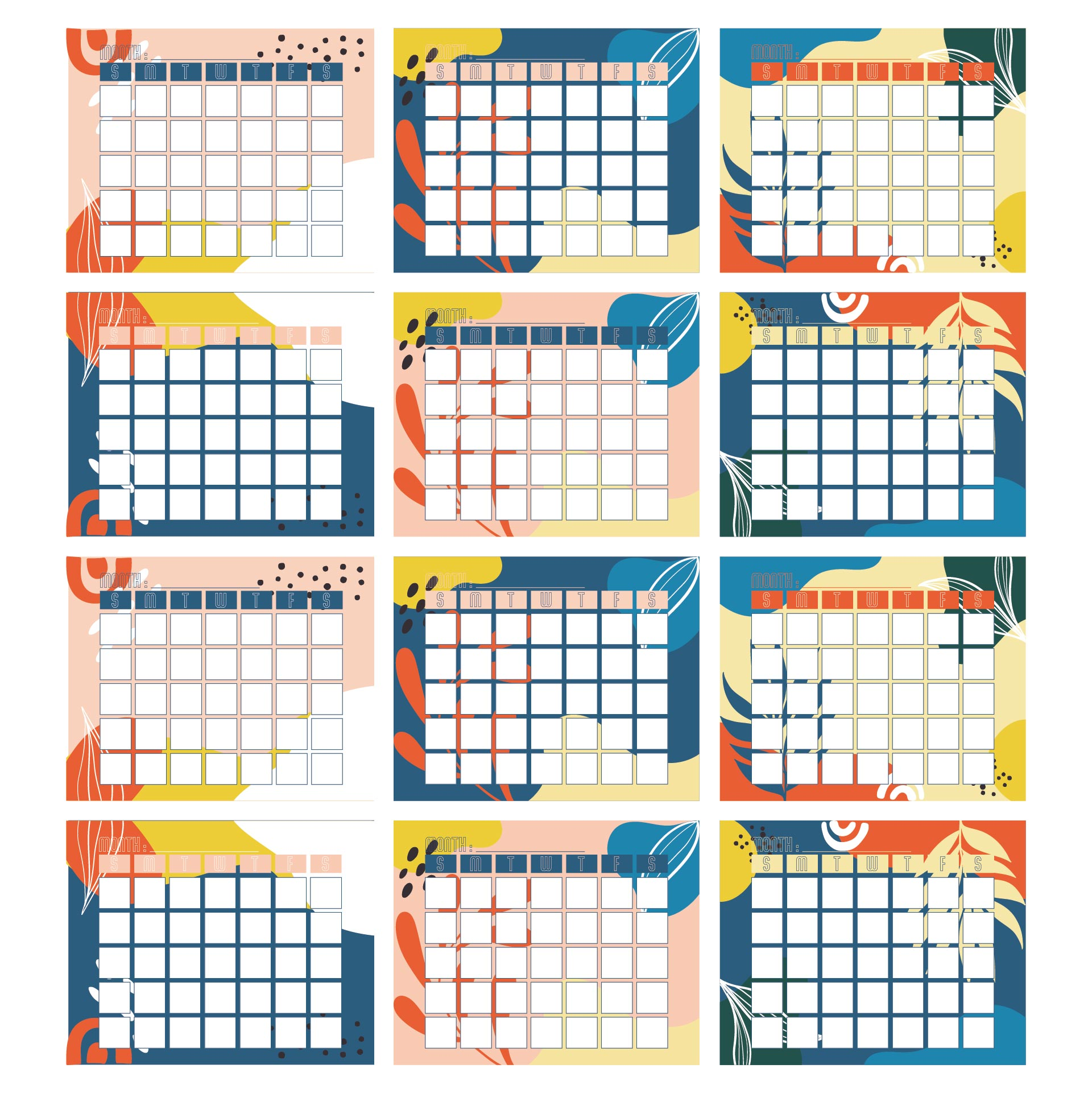 Kindergarten Monthly Calendar Printable